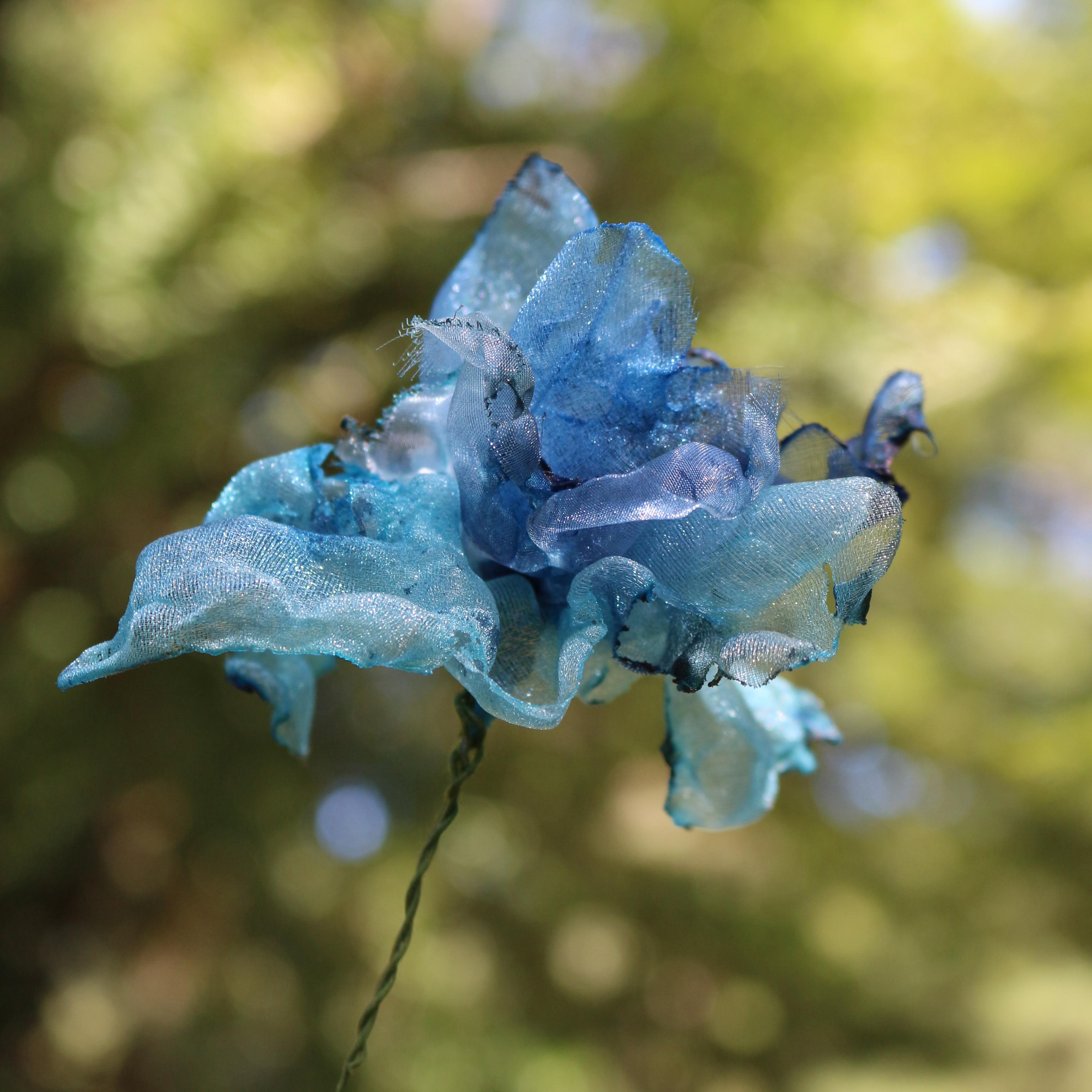 カラフルオーガンジーのアートフラワー【造花】|スカイブルー②