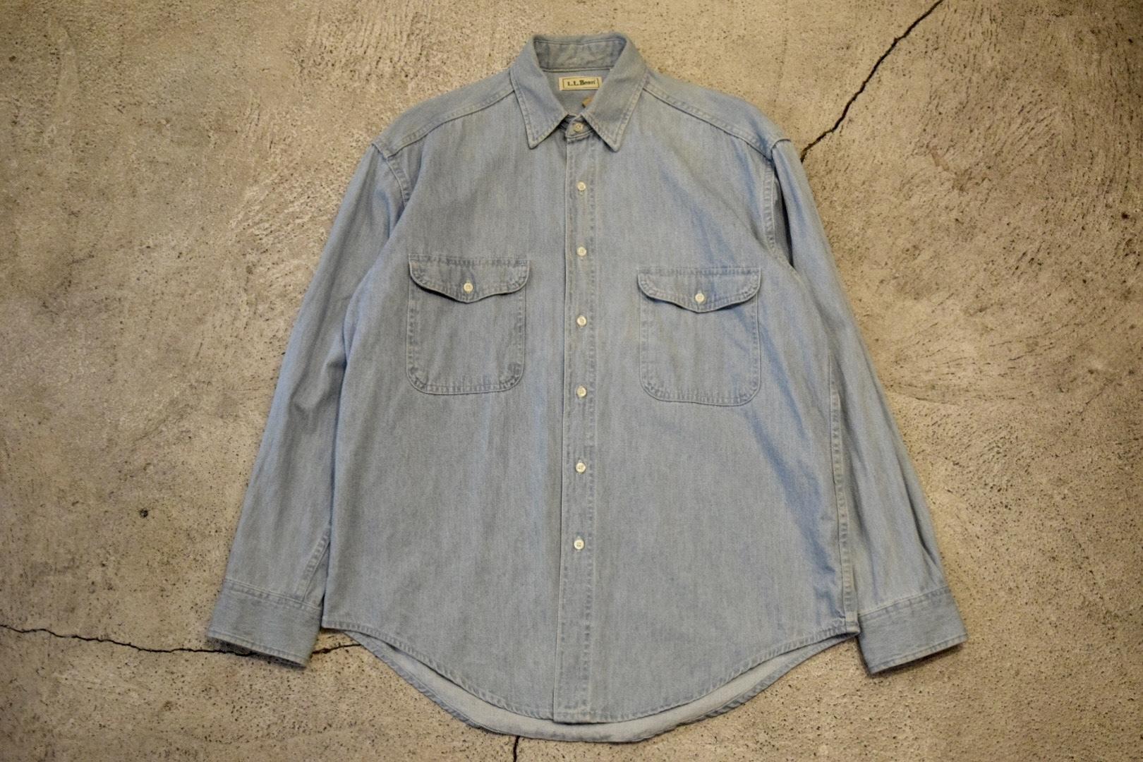USED 90s L.L.Bean L/S Washed Denim Shirt -Medium 0896