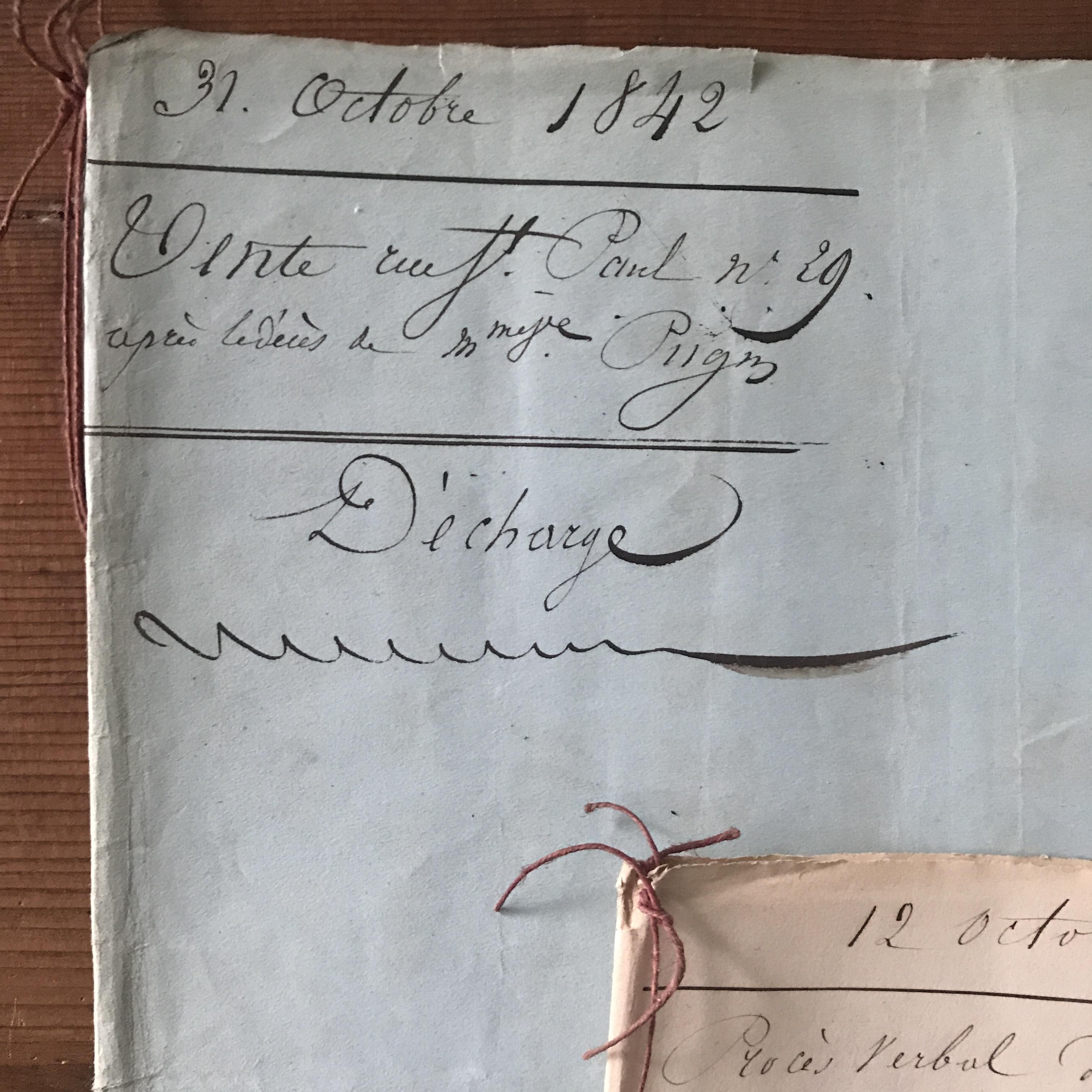 くすんだ水色の表紙!アンティークマニュスクリ(公文書1842年)