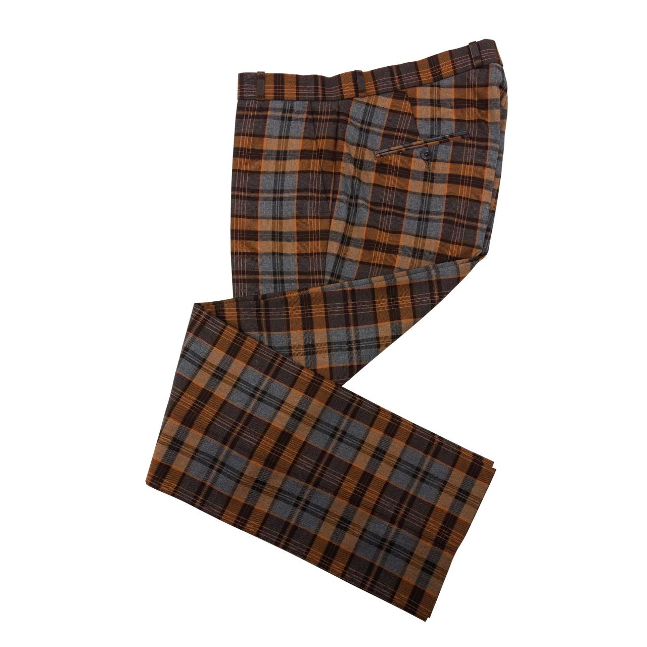 Relco London | Tartan Check Trousers - Brown×Grey