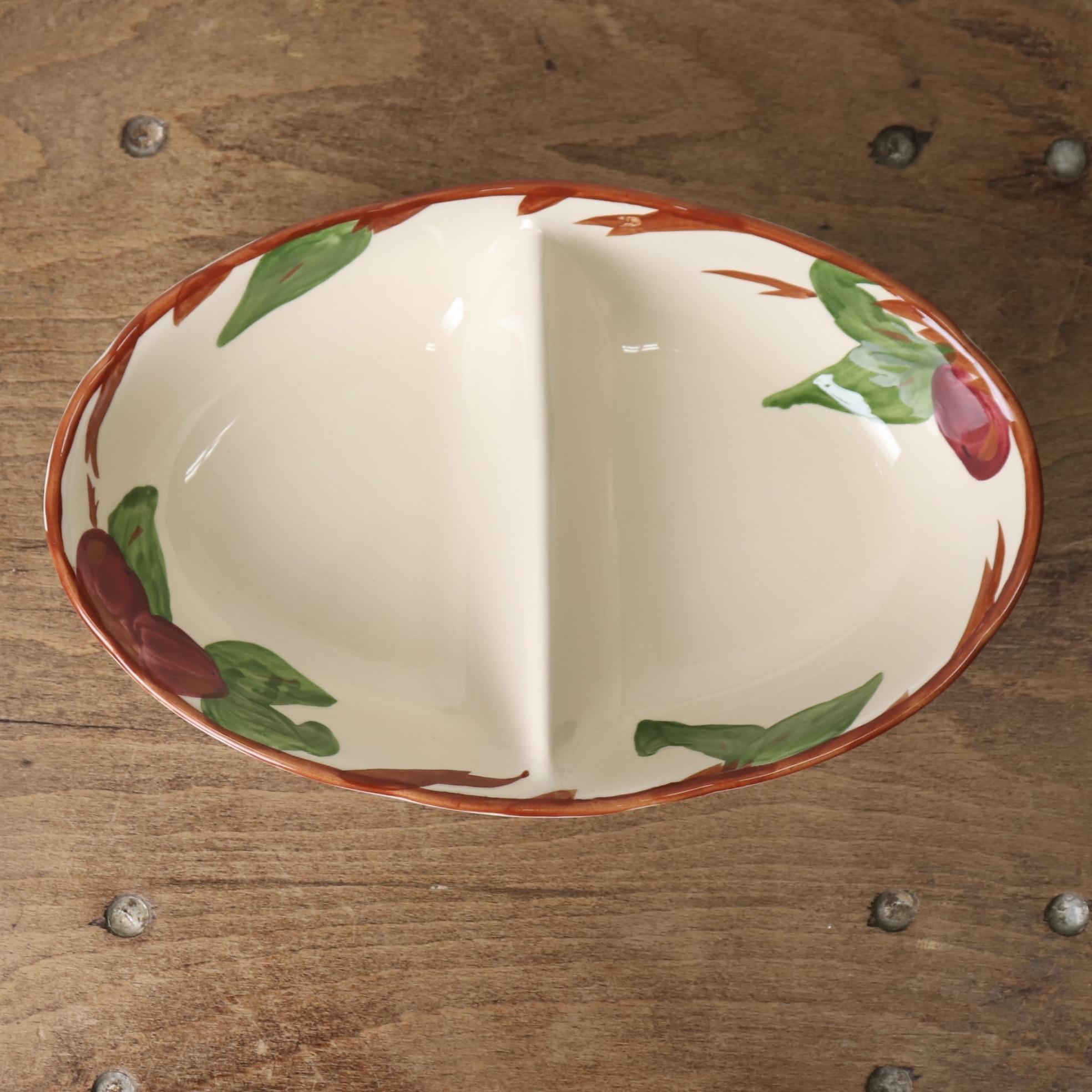 """""""FRANCISCAN""""フランシスカン 80〜90年代 ヨーロッパ イギリス製 ヴィンテージ食器 2連プレート フルーツ柄 陶器"""