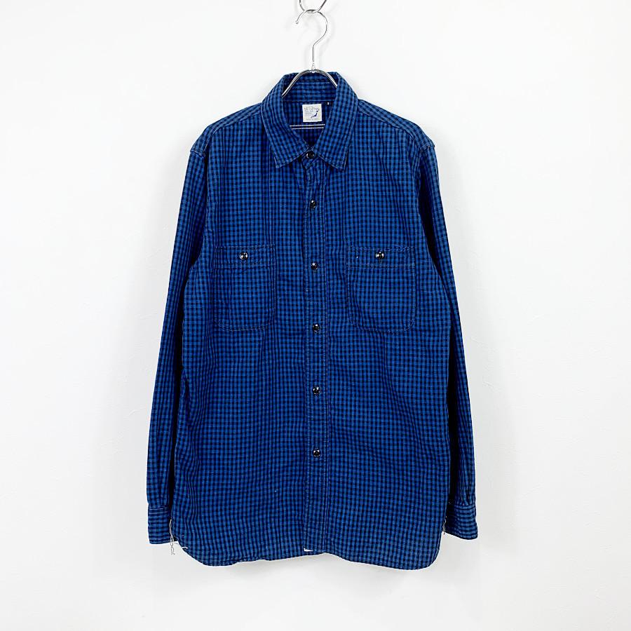 or slow / オアスロウ   ギンガムチェックワークシャツ   3   インディゴ