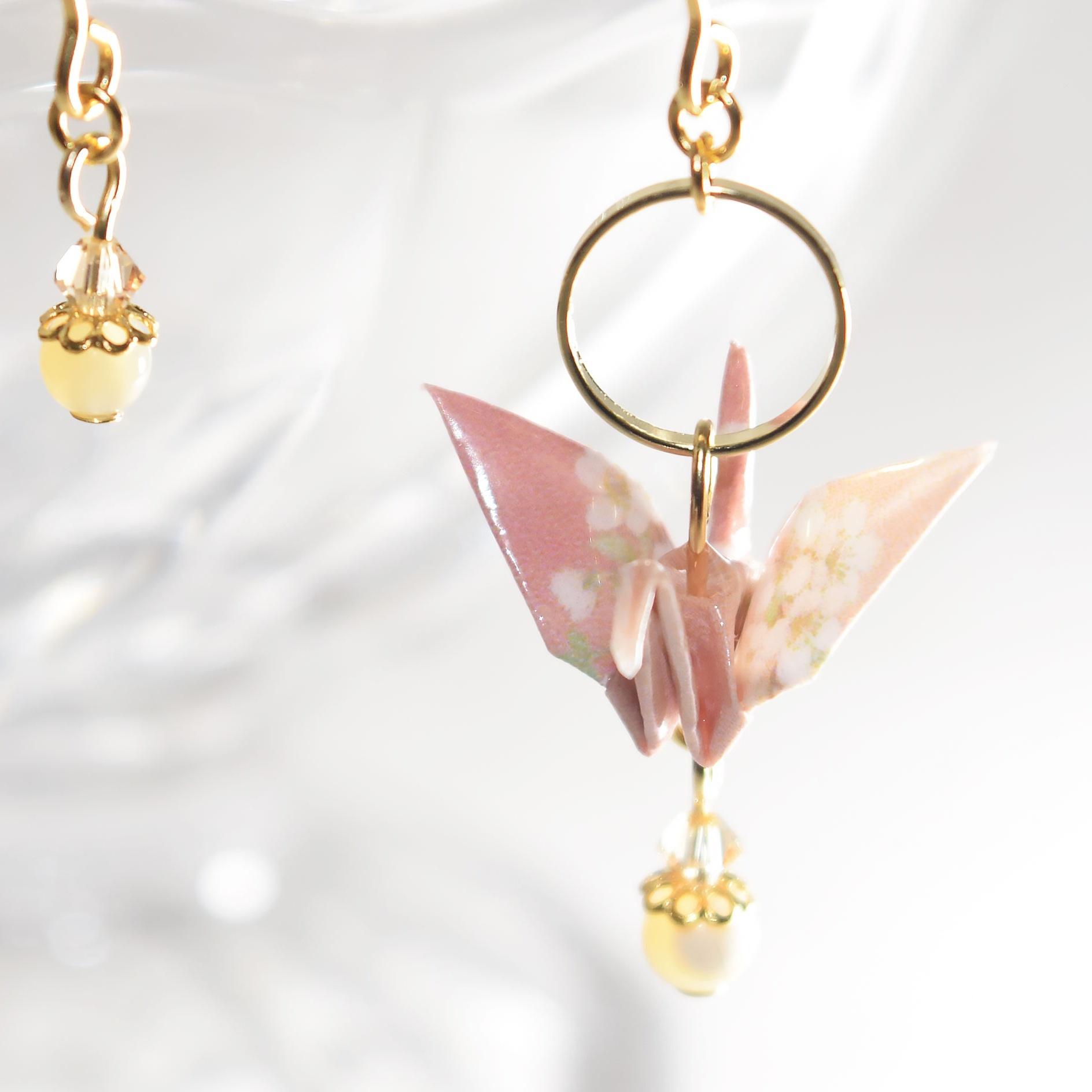 桜ピンク折り鶴