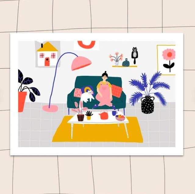 "Jennifer Bouron ""Living room"" A5 print"