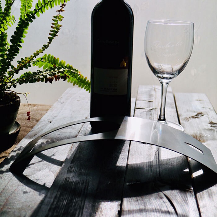 ステンレス製 ワインホルダー 湾曲タイプ 送料無料