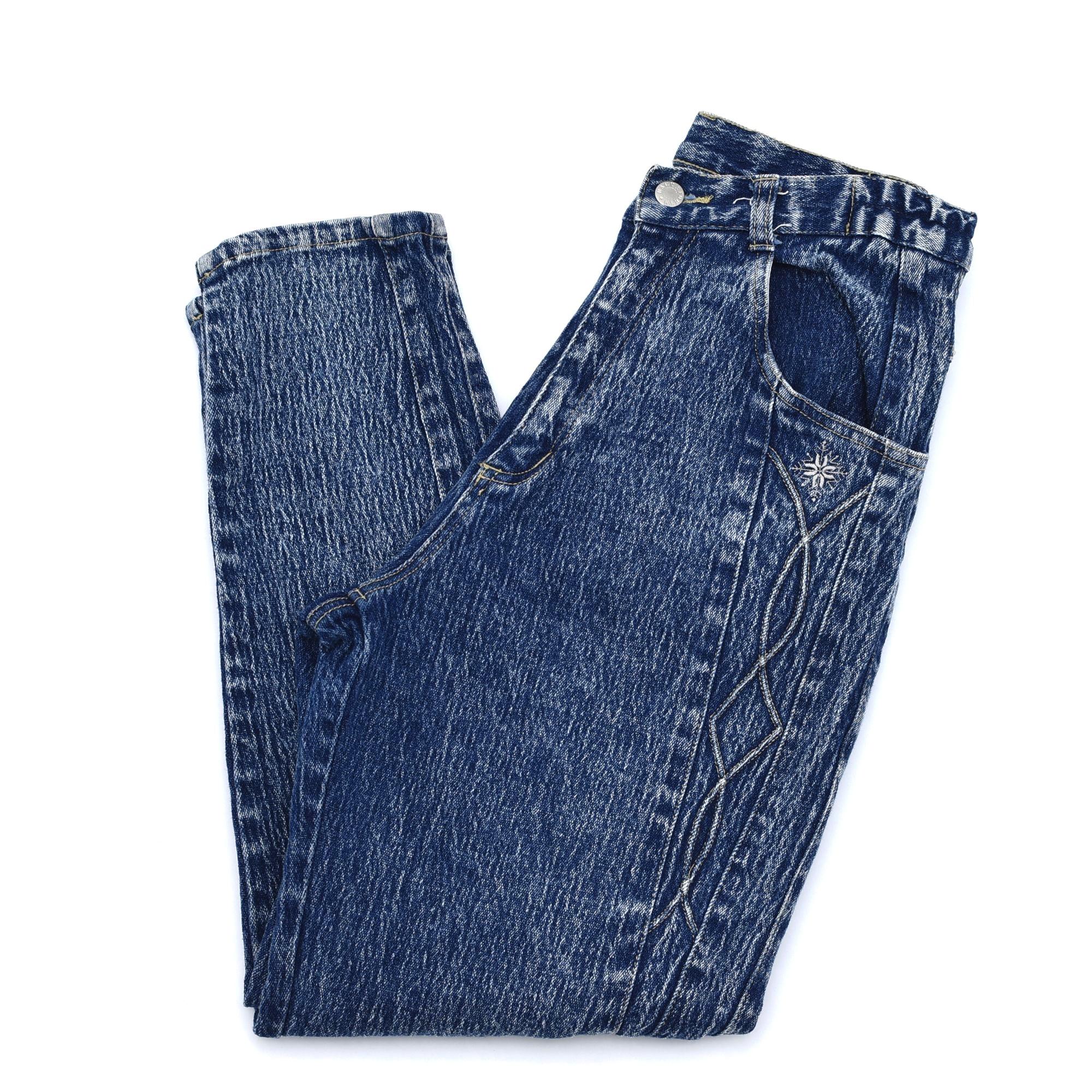 Chemicalwash design demim tapered pants