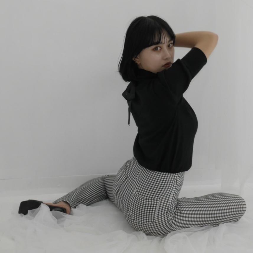 【Belle】puff back ribbon knit / black