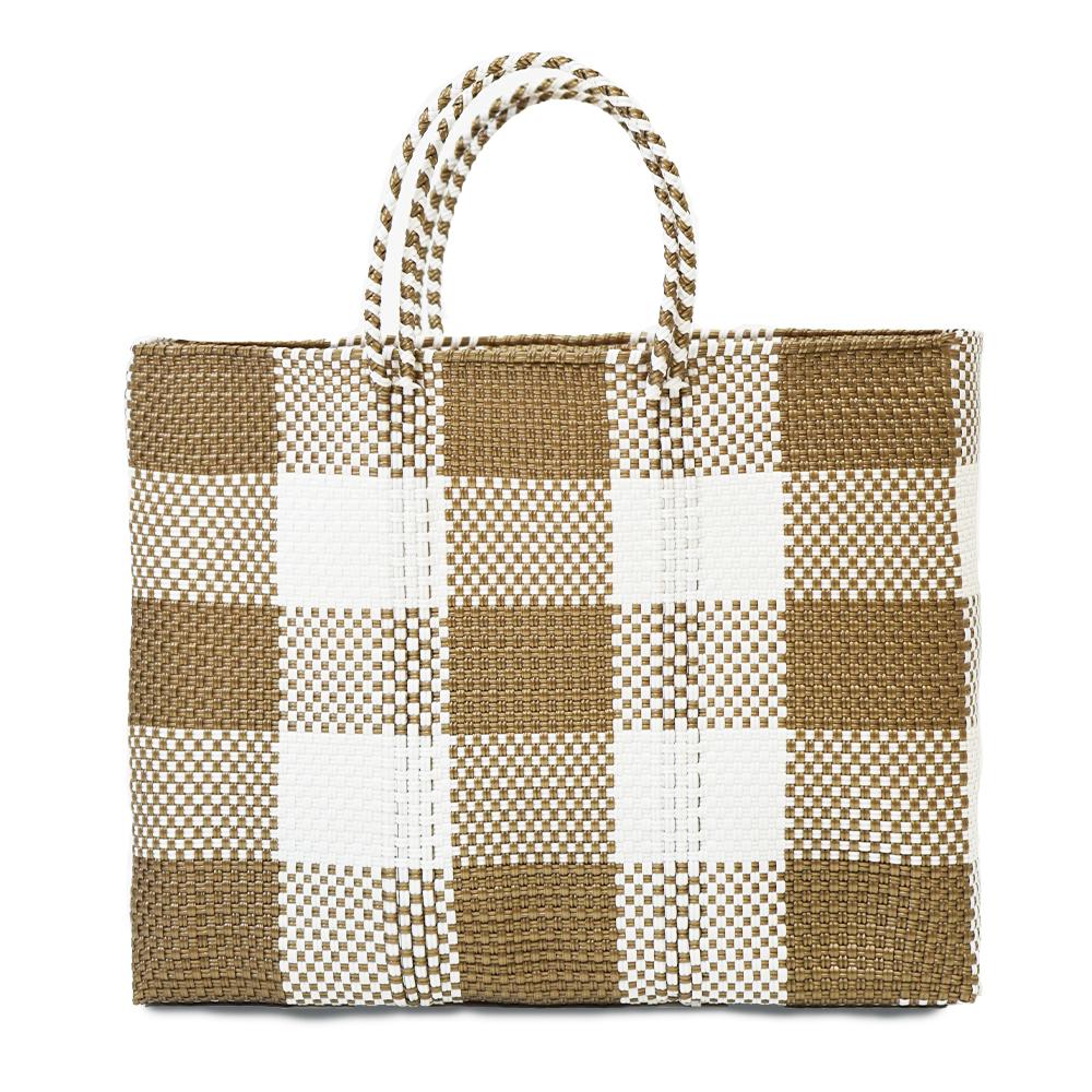 MERCADO BAG CHECK - White × Gold (L)