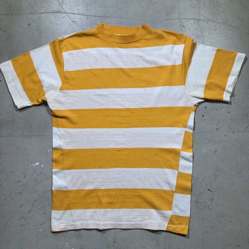 60~70's sportivo 太ボーダーTシャツ 2.5インチ幅 ホワイト イエロー 2トーン WPL5058 シングルステッチ Mサイズ 希少 ヴィンテージ BA-1460 RM1879H