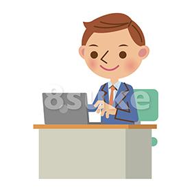 イラスト素材:デスクでノートパソコンを使うビジネスマン(ベクター・JPG)