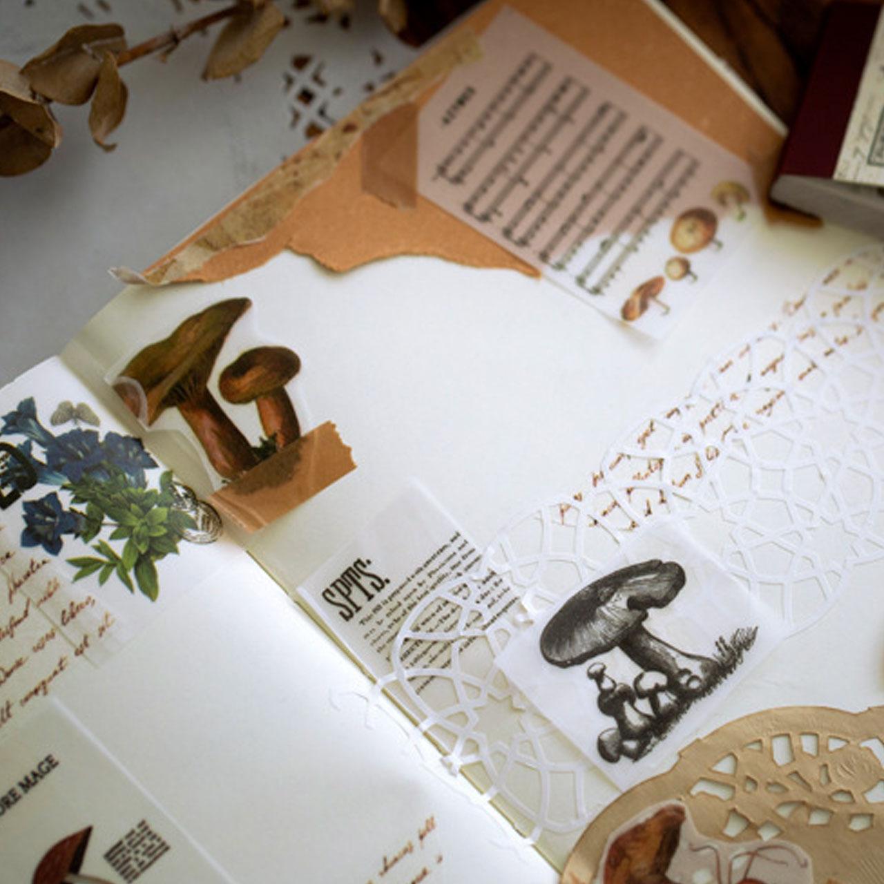 ミニサイズ 硫酸紙 全8種 レトロ 紙もの 背景紙 海外製 コラージュ ジャンクジャーナル ほぼ日手帳 A26