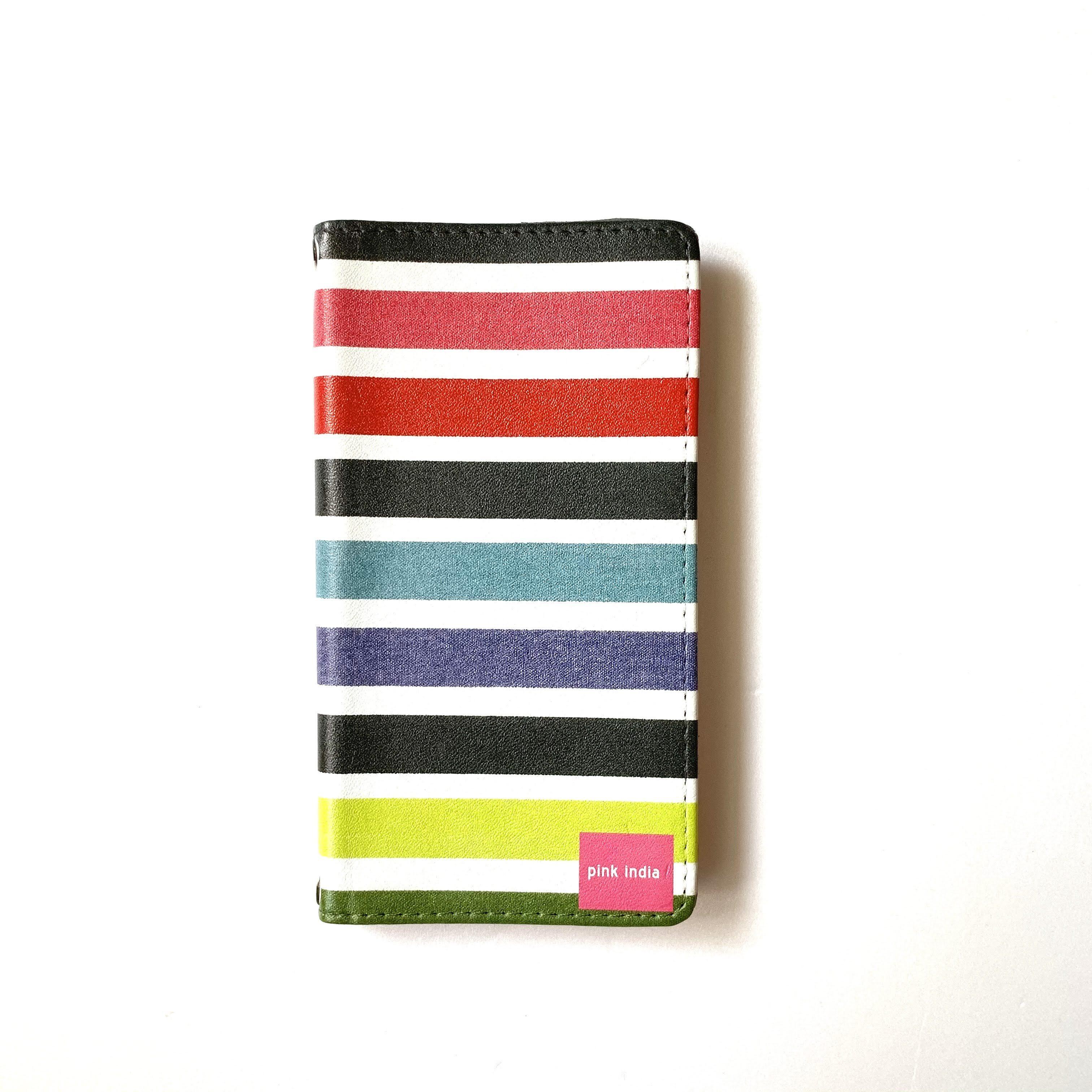 北欧デザイン 手帳型スマートフォンケース [ベルトなし]   iPhone6/7/8/SE(第二世代)兼用    multi stripe