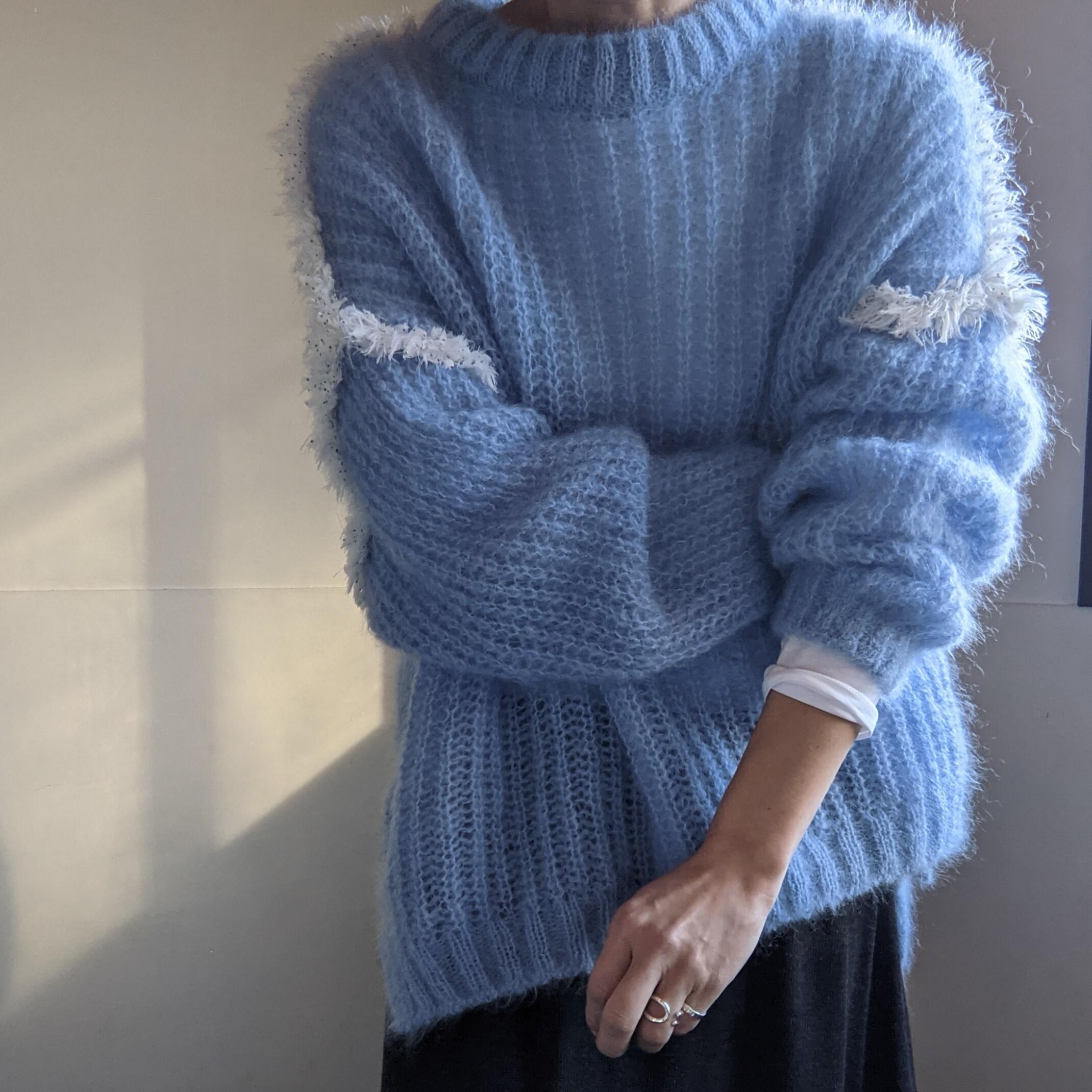 【 L'ANIT 】ラニット / frill mohair knit / light blue /水色