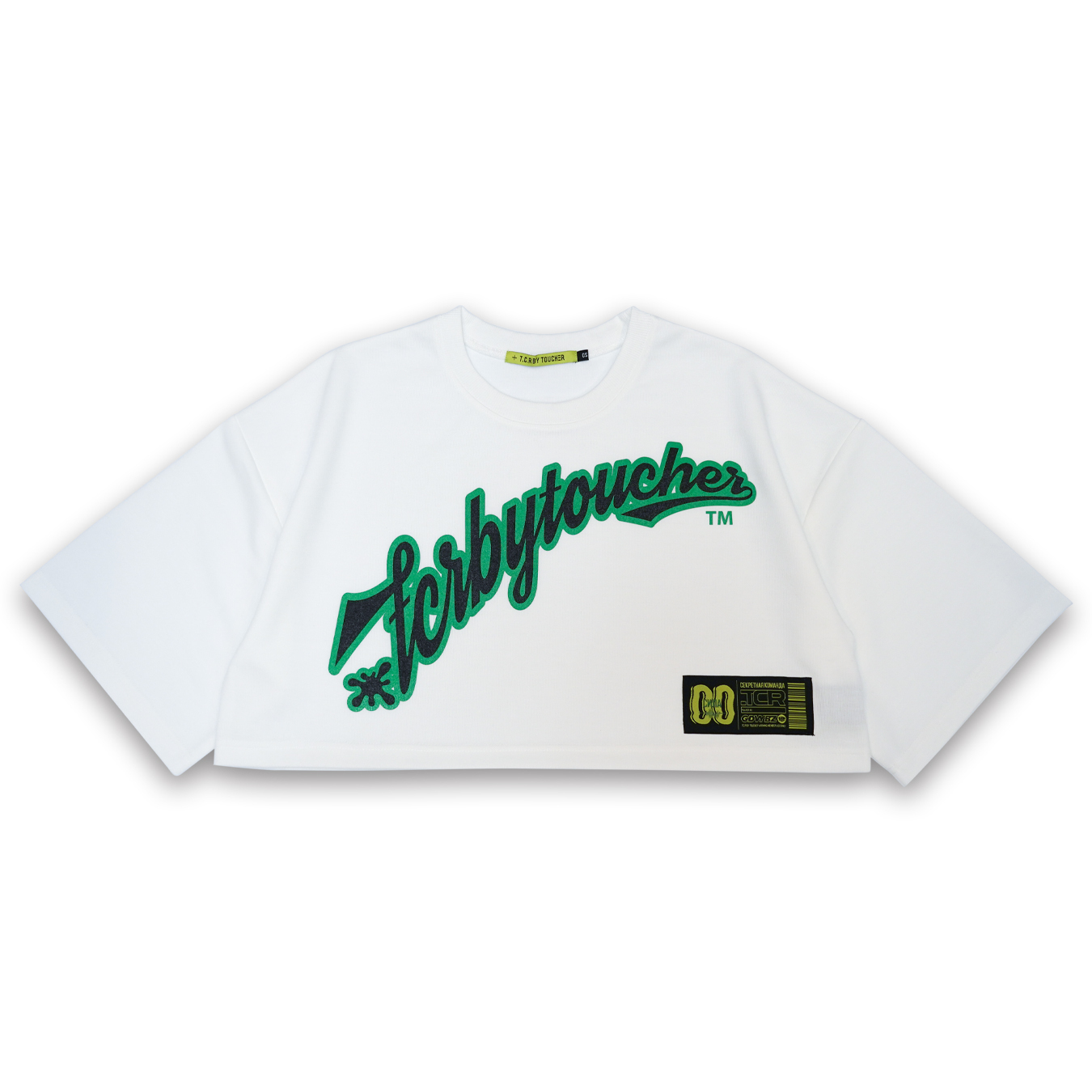 T.C.R CREW  SHORT LENGTH TEE  - exclusive - WHITE / GREEN