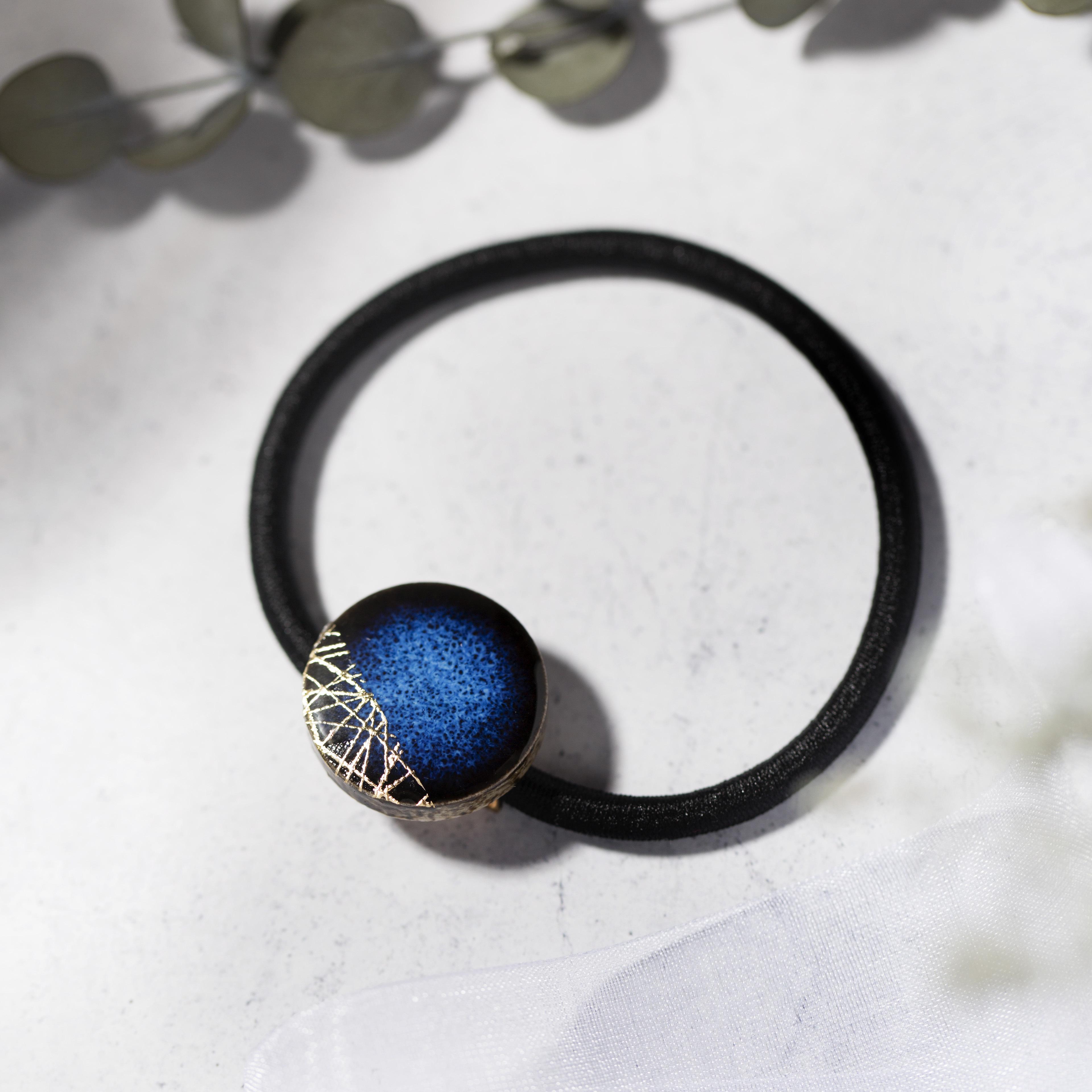 藍色 丸 陶器 木漏れ日 ヘアゴム 美濃焼