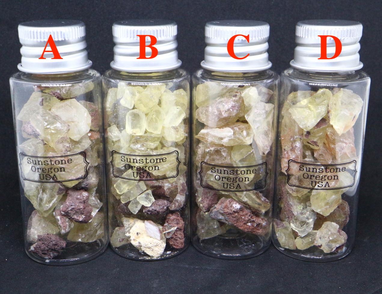 超お買い得!【鉱物標本セット】サンストーン オレゴン州産 ボトル 瓶詰め SUN043-046 原石 宝石 天然石 鉱物セット