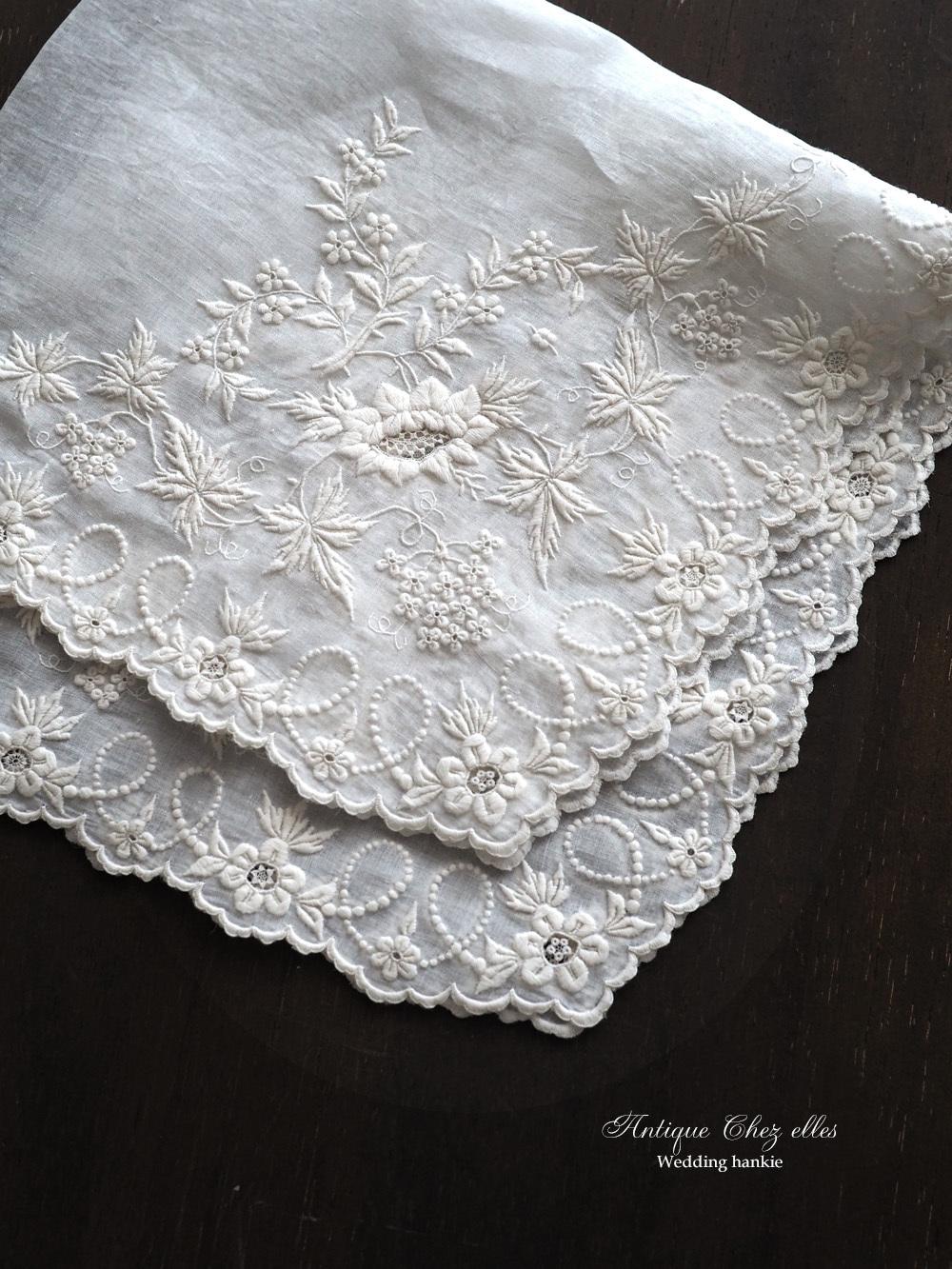 希少 白糸刺繡のウェディングハンカチーフ