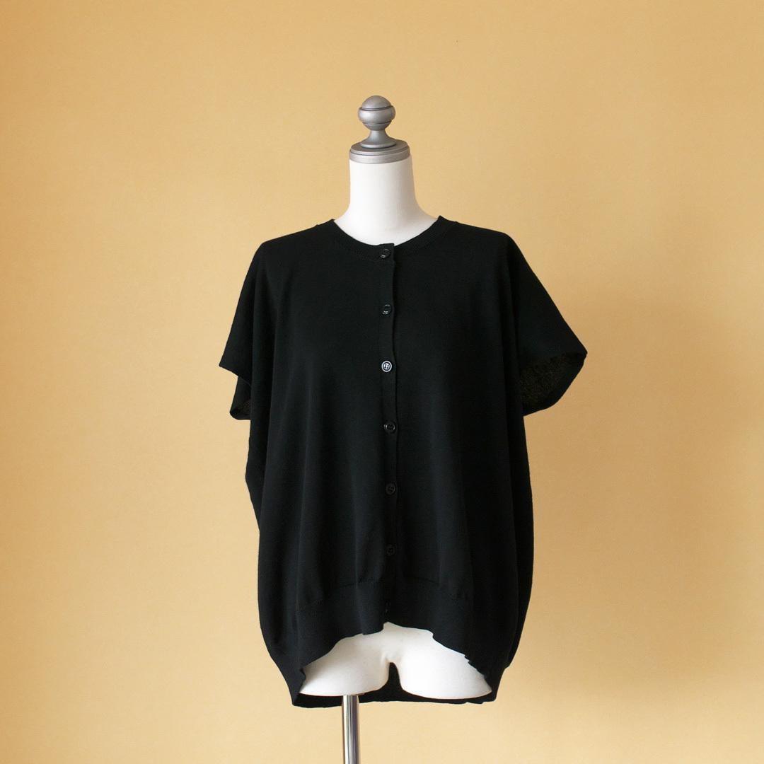 Gauze# ガーゼ G147 square knit pull cardigan スクエアニットプルカーディガン・ブラック