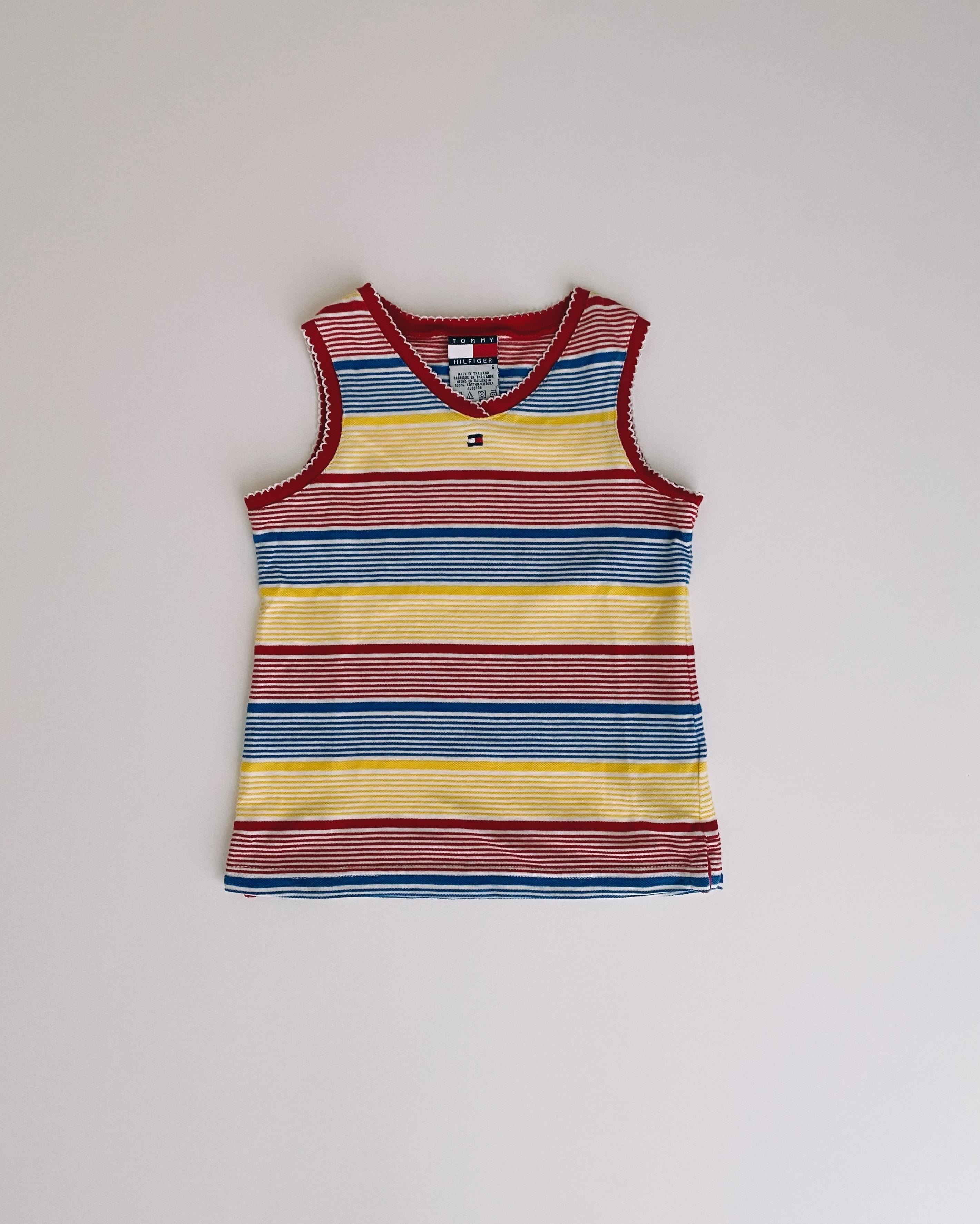 (KD173)110cm TOMMYHILFIGER border no-sleeve T-shirt