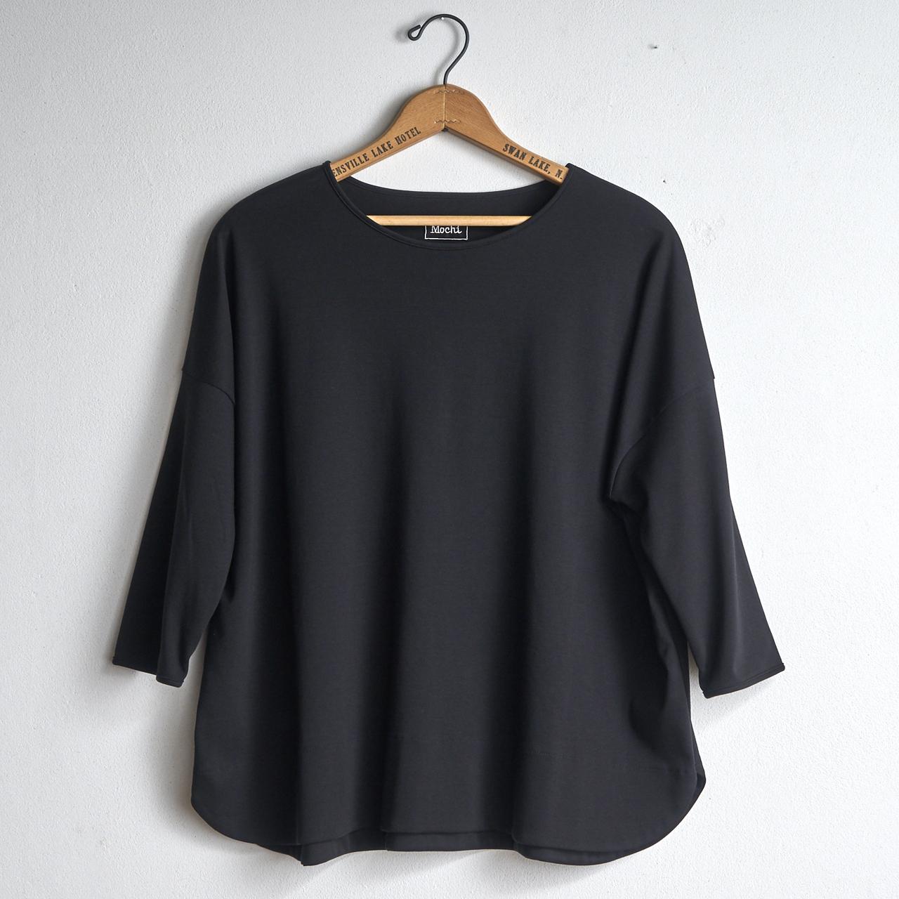 mochi モチ 超長綿Tシャツ ブラック suvin long sleeved t-shirt