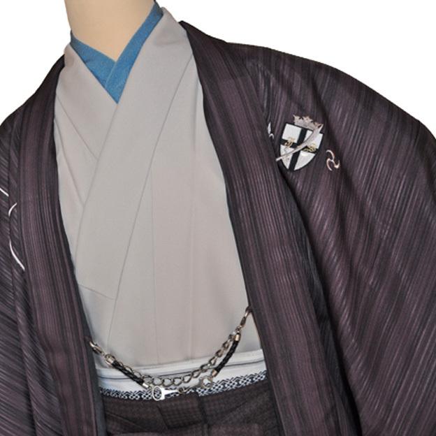 レンタル男性用jp01【紋付袴】ジャパンスタイル・ベージュ着物・紫羽織に、紫袴刺繍入りフルセット - 画像1