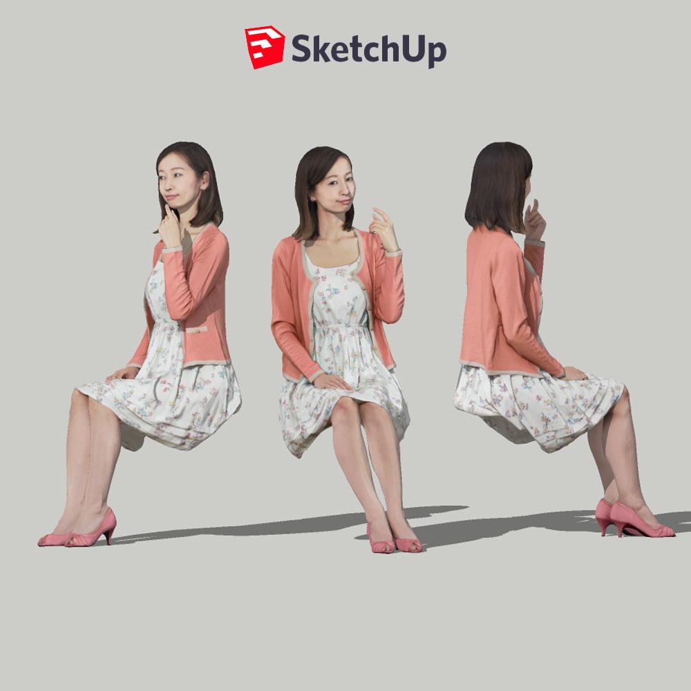 SketchUp素材 3D人物モデル ( Posed ) 091_Aya - 画像1