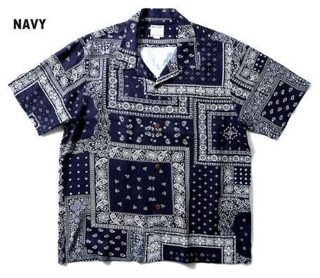 アロハシャツ バンダナマイクロ ネイビー