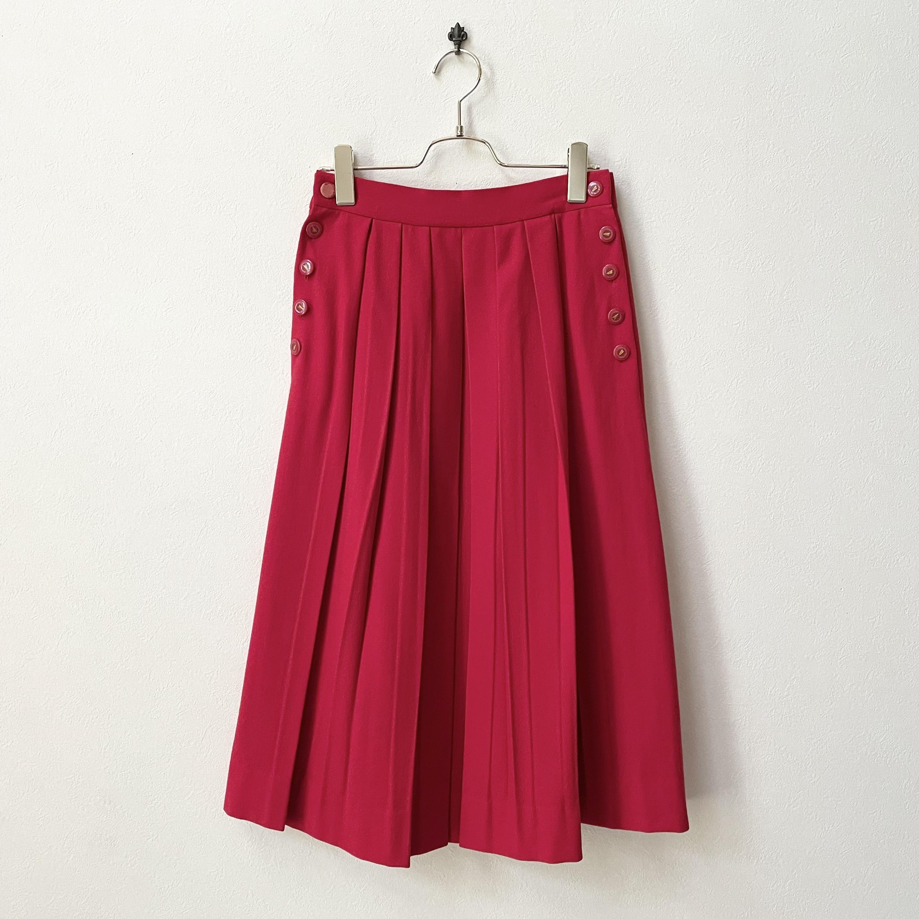 80年代 サイドボタン フレア プリーツスカート アメリカ古着 日本M