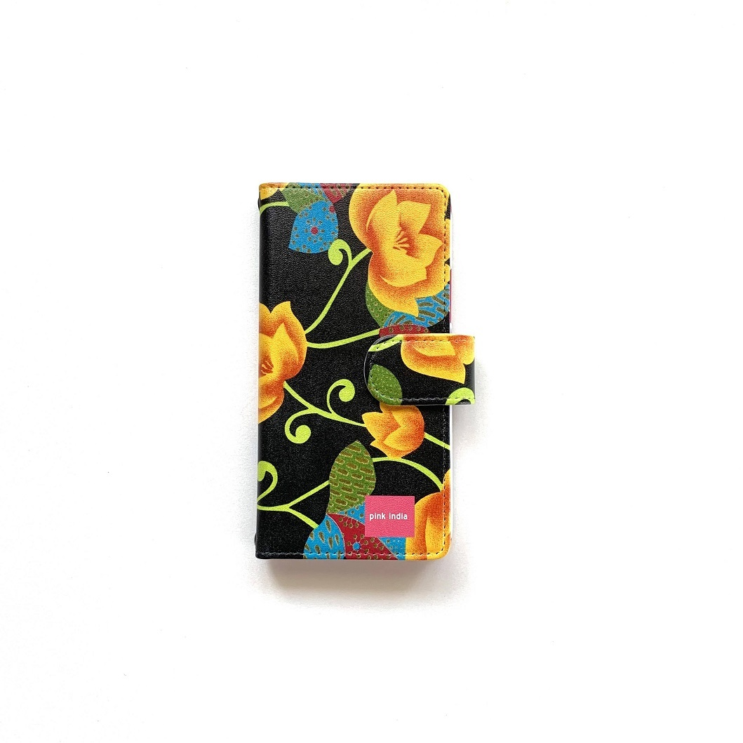 北欧デザイン iPhone手帳型ケース  | matthew black & yellow