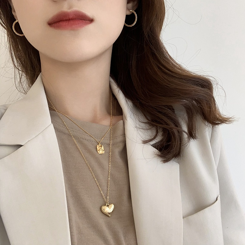 square&heart  gold necklace