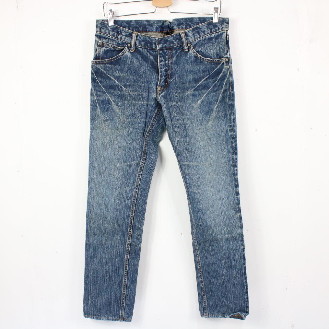 PLEDGE / プレッジ | ウォッシュ加工5ポケットデニムジーンズ | インディゴ | メンズ