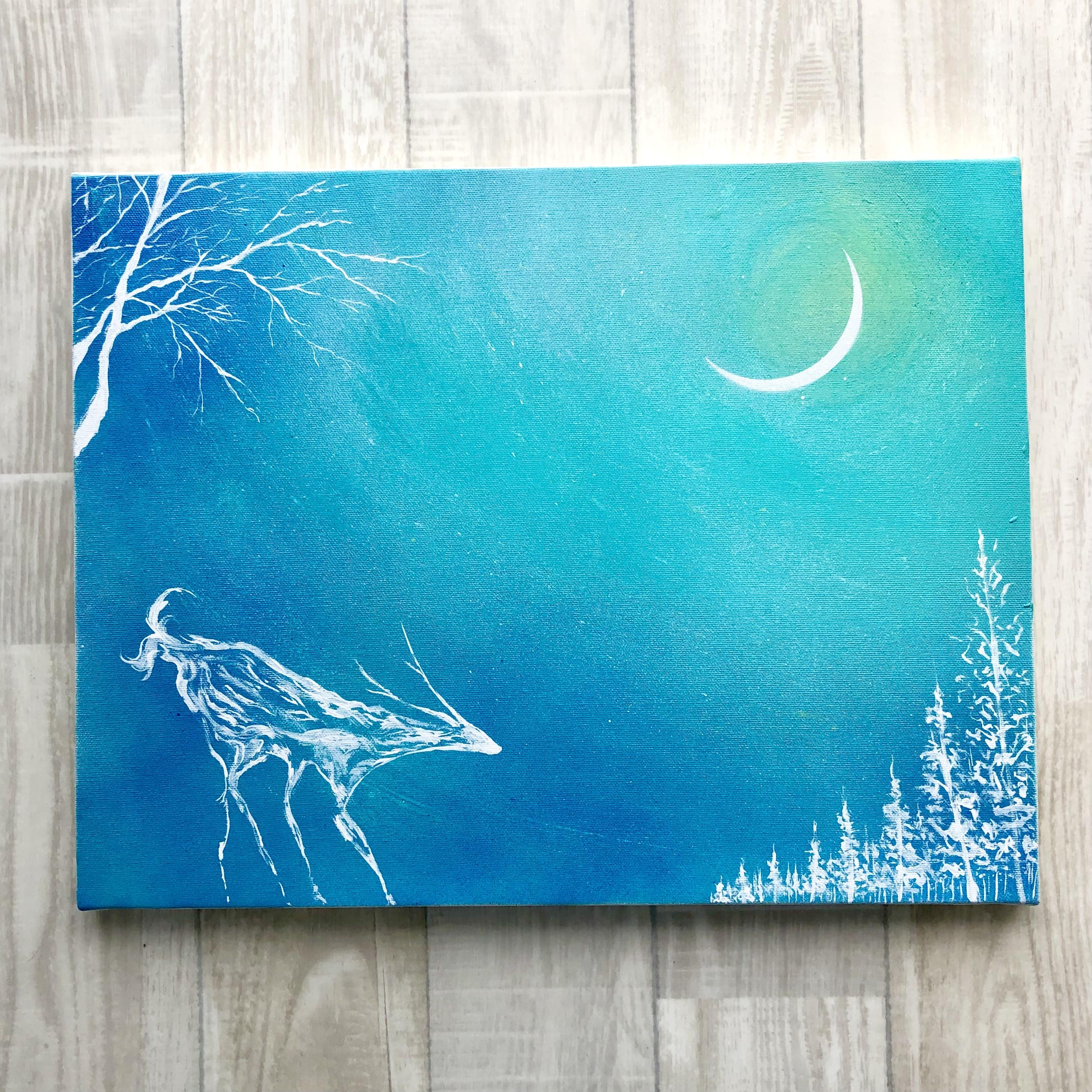 「月夜」キャンバスパネル風景画