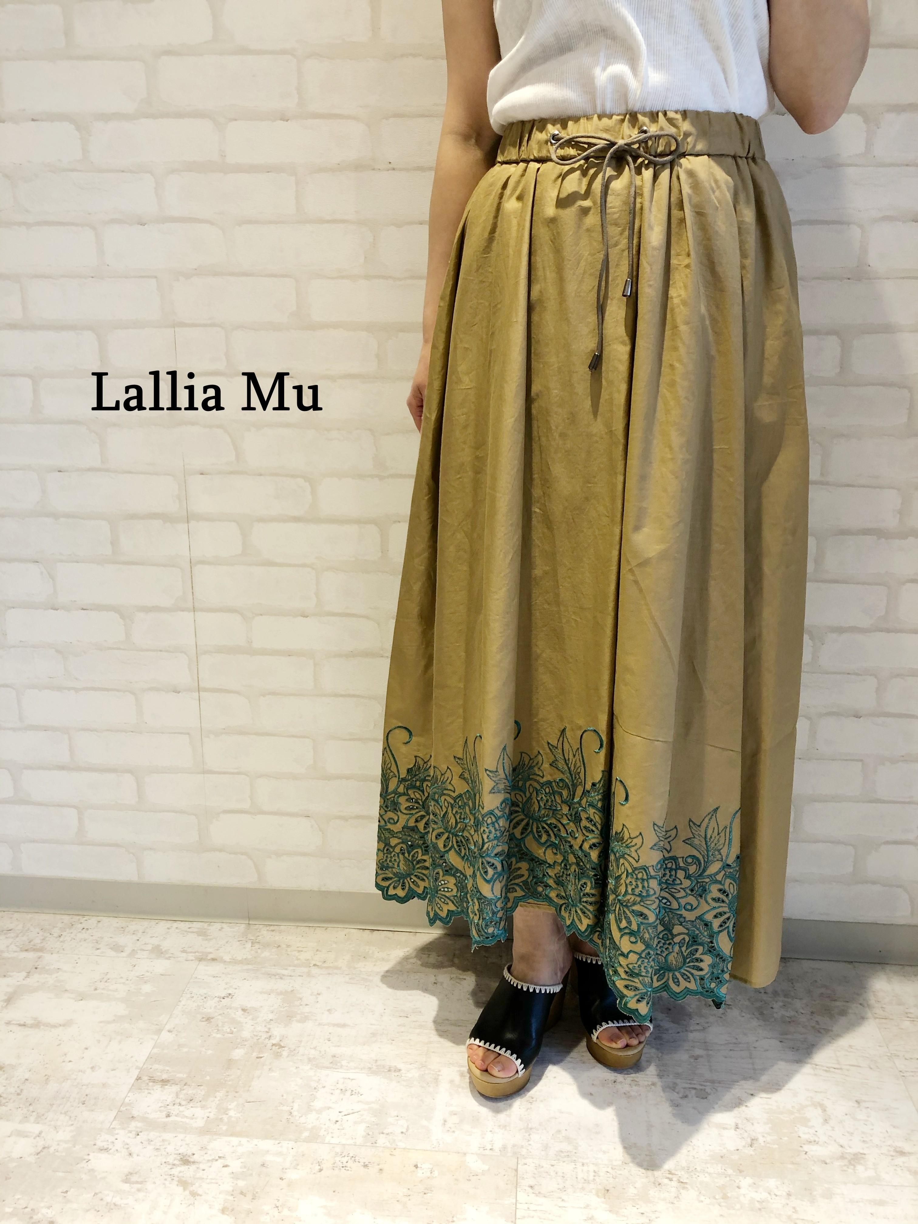 Lallia Mu/刺繍ロングスカート/2112836(ベージュ)