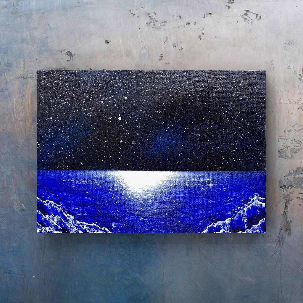 「夜の海」 キャンバスパネル風景画