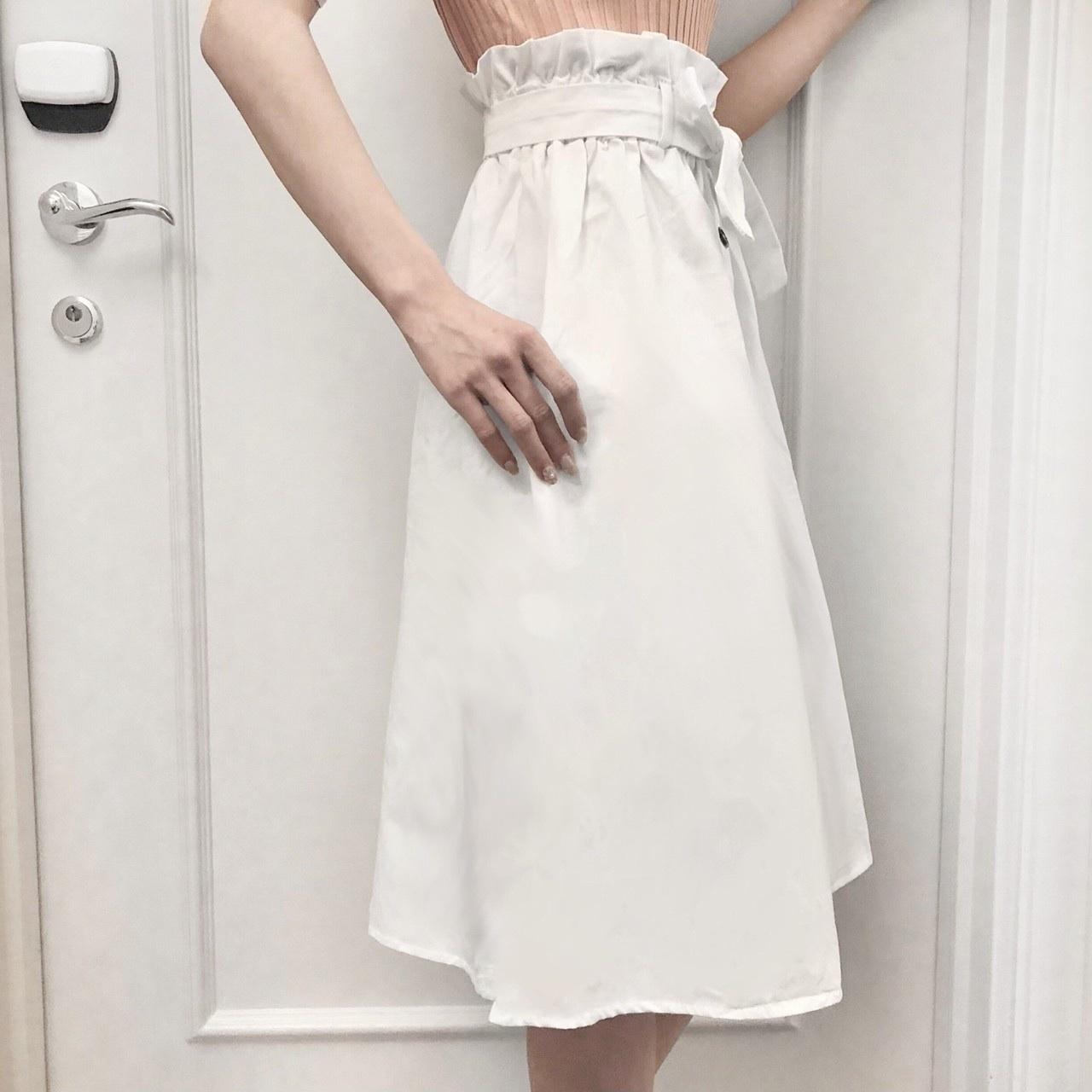 【Fluffy】フロントボタンリボンフレアスカート