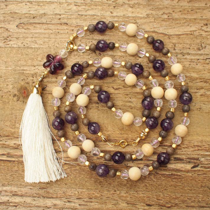 【Amethyst】×【Crystal】Long Necklace