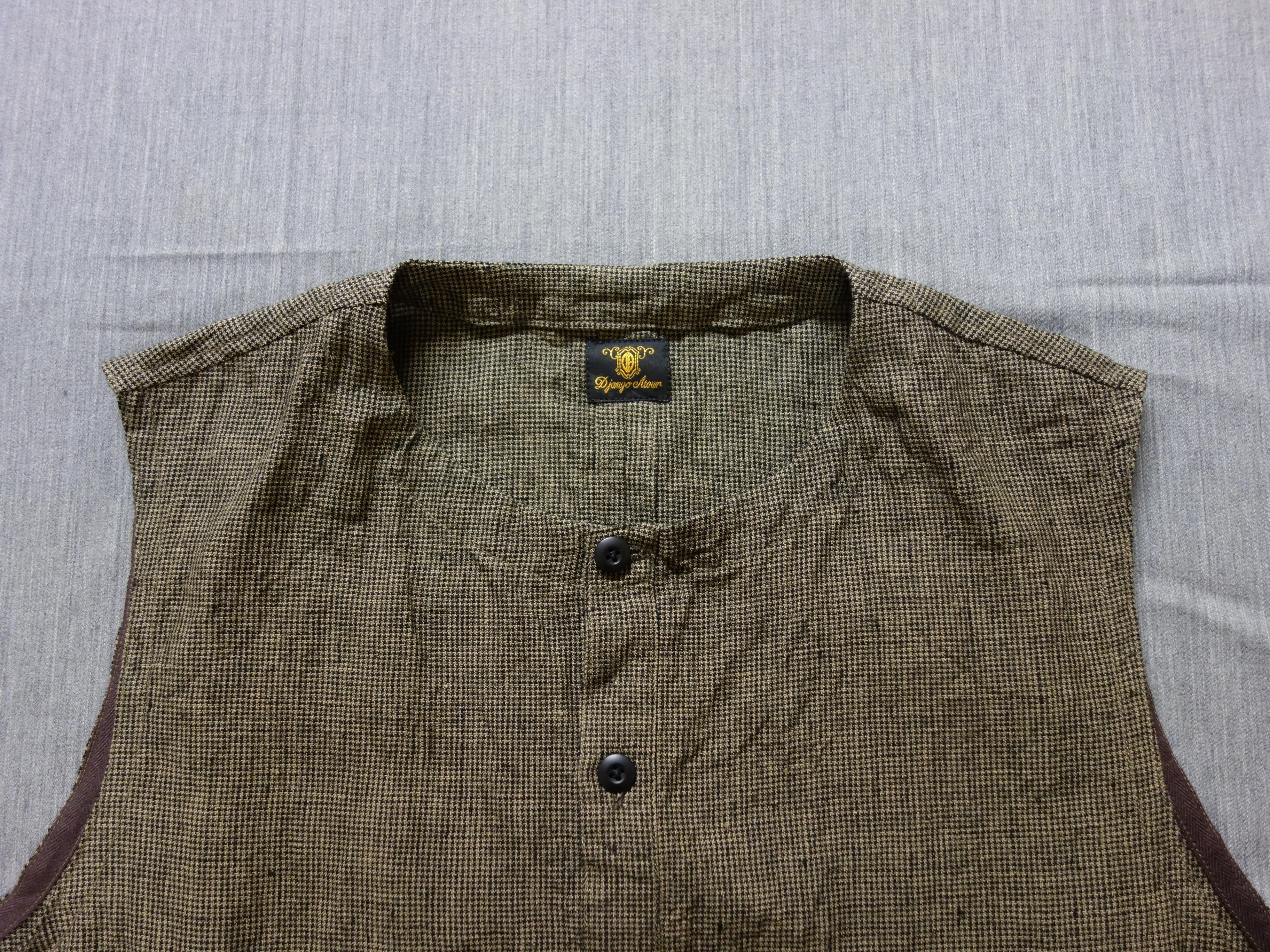 classic linen artisanal vest / sepia x black
