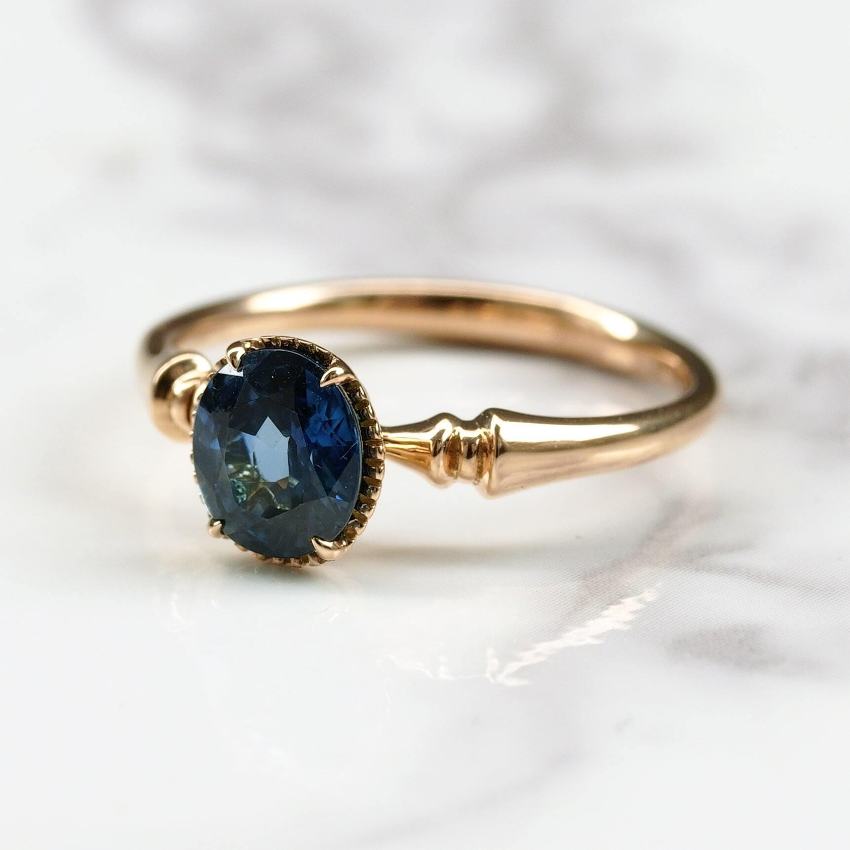 Blue sapphire ring / K18YG