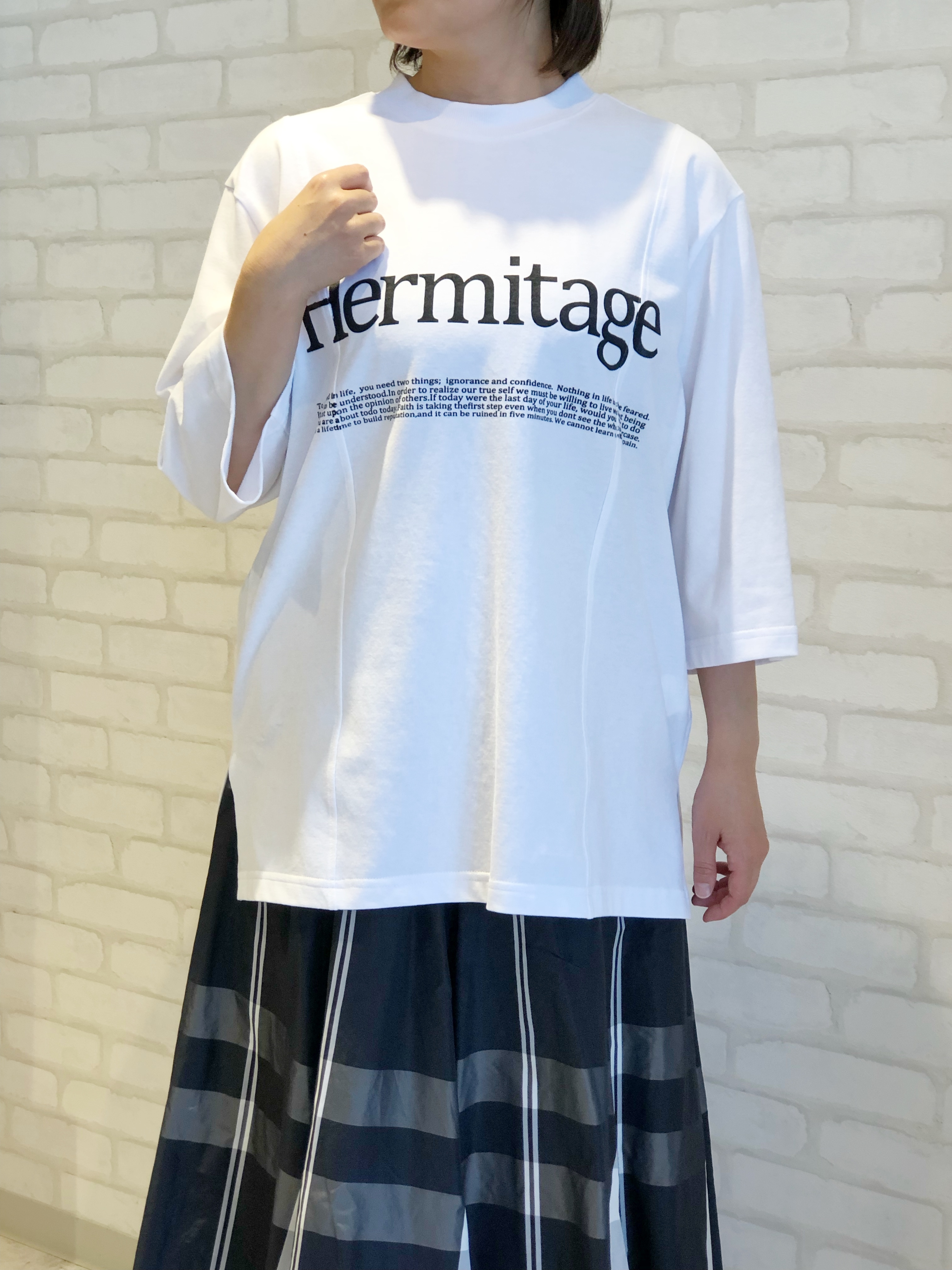 Lallia Mu/7分袖Tシャツ/2113471(ホワイト)