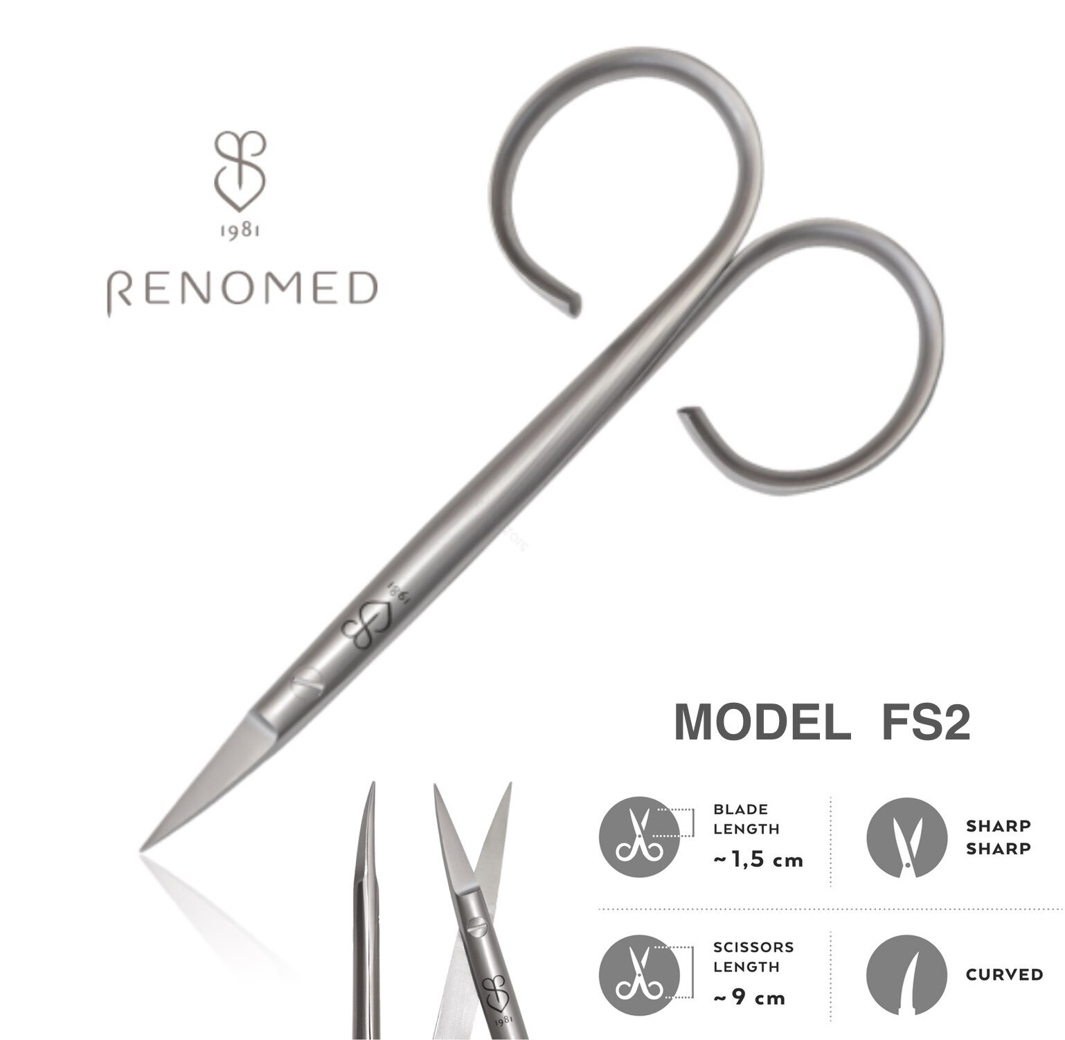 Renomed FS2 Fishing Scissors SMALL Carved