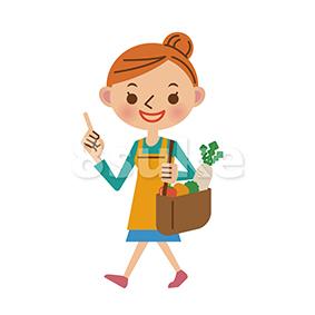 イラスト素材:買い物をするエプロン姿の主婦(ベクター・JPG)