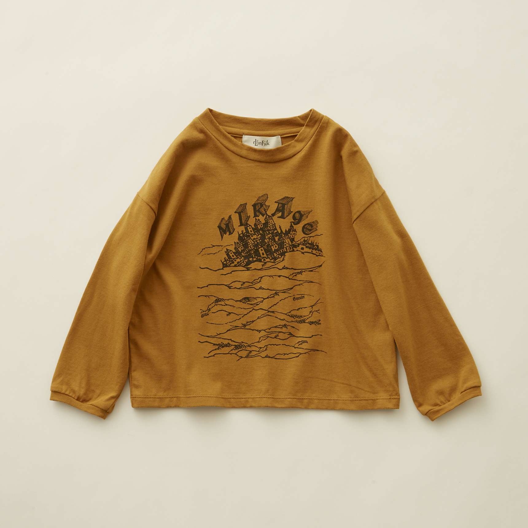 《eLfinFolk 2020AW》MIRAgE town  long sleeve-T / mustard / 110-130cm