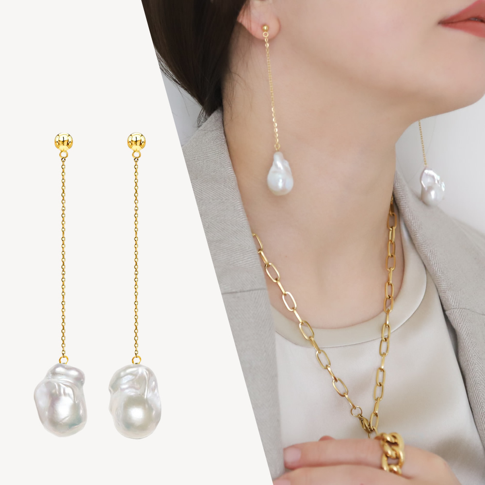 【Sクラス】baroque pearl long chain pierce / earring