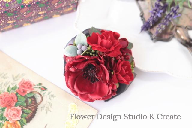 赤いアネモネと薔薇のコサージュ 結婚式 パーティー お出掛け グリッター フォーマル お洒落