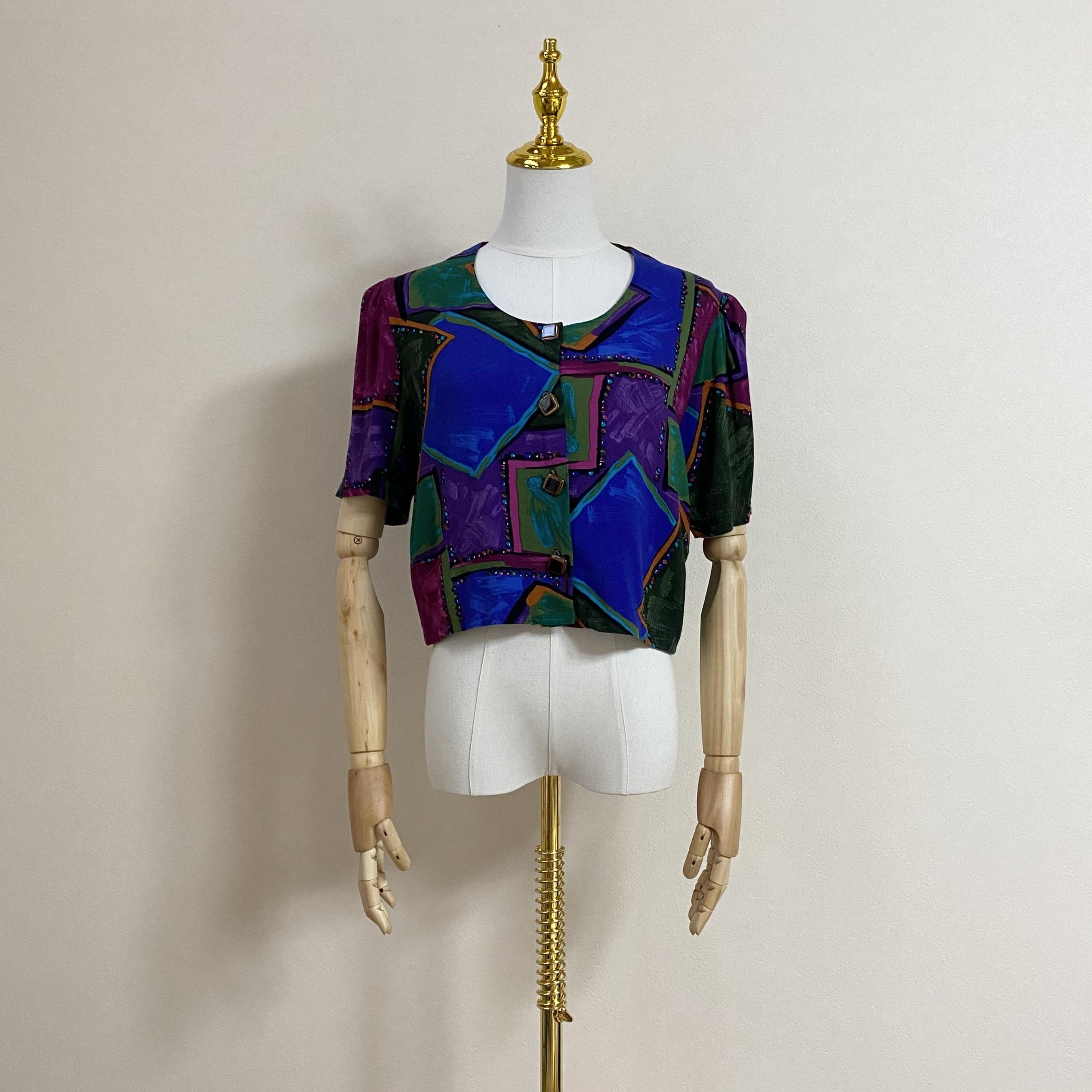 レディース ショートブラウス 総柄 アート柄 80年代 USA製 アメリカ古着 レーヨン 日本M
