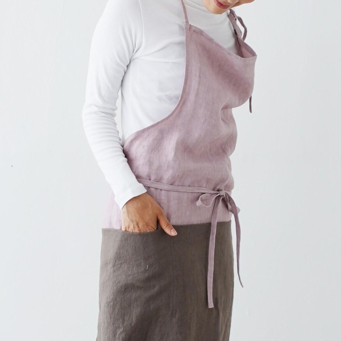 チムニーエプロン chimney apron / リネン linen / grayish pink
