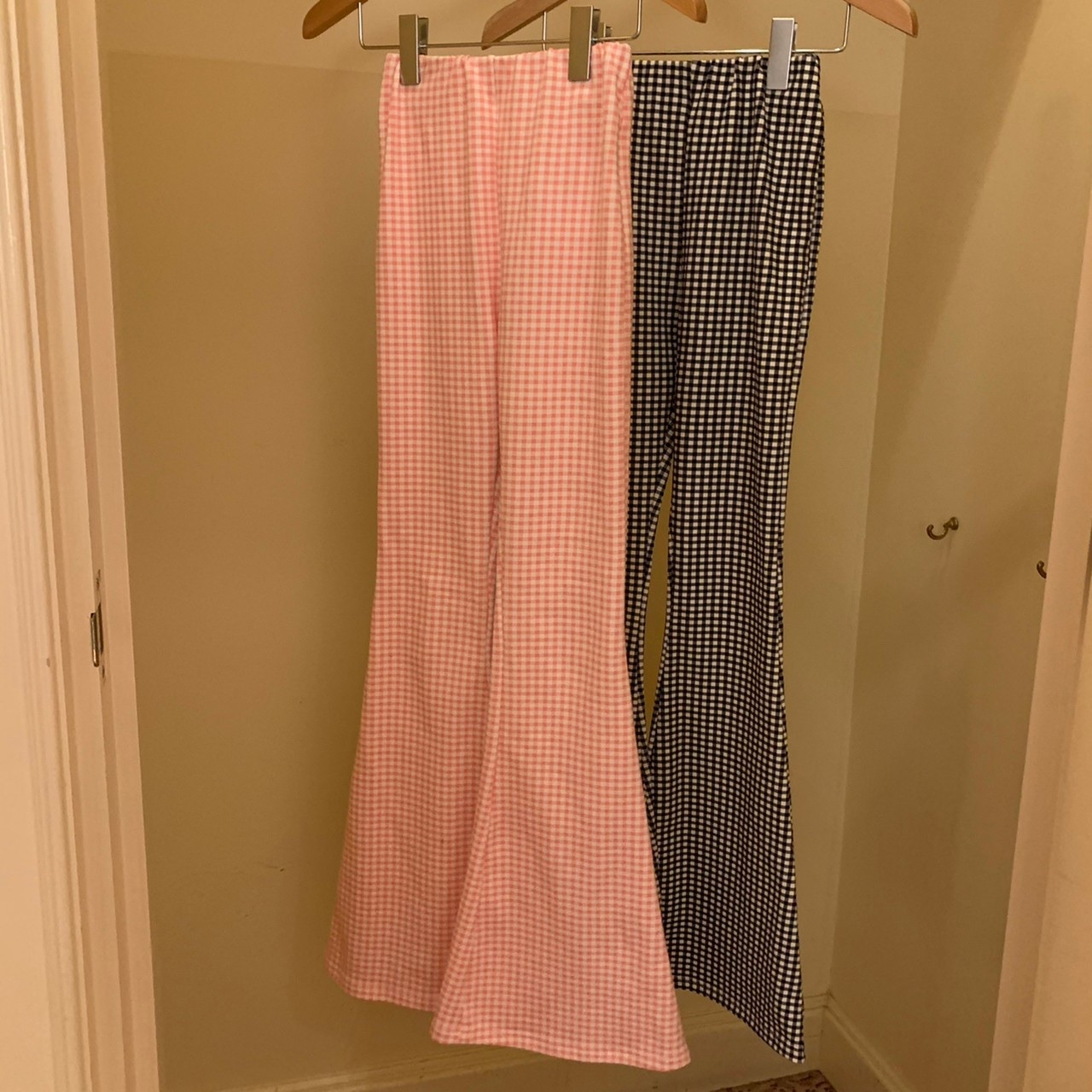 【Belle】LAST2 gingham check flare pants / pink