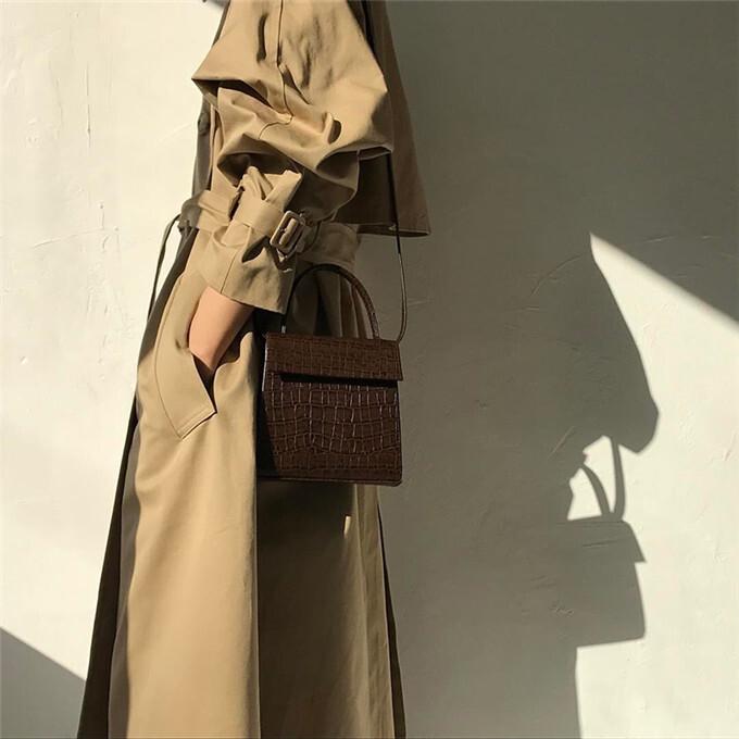 〈カフェシリーズ〉クロコダイルのビンテージ調バッグ【crocodile vintage bag】