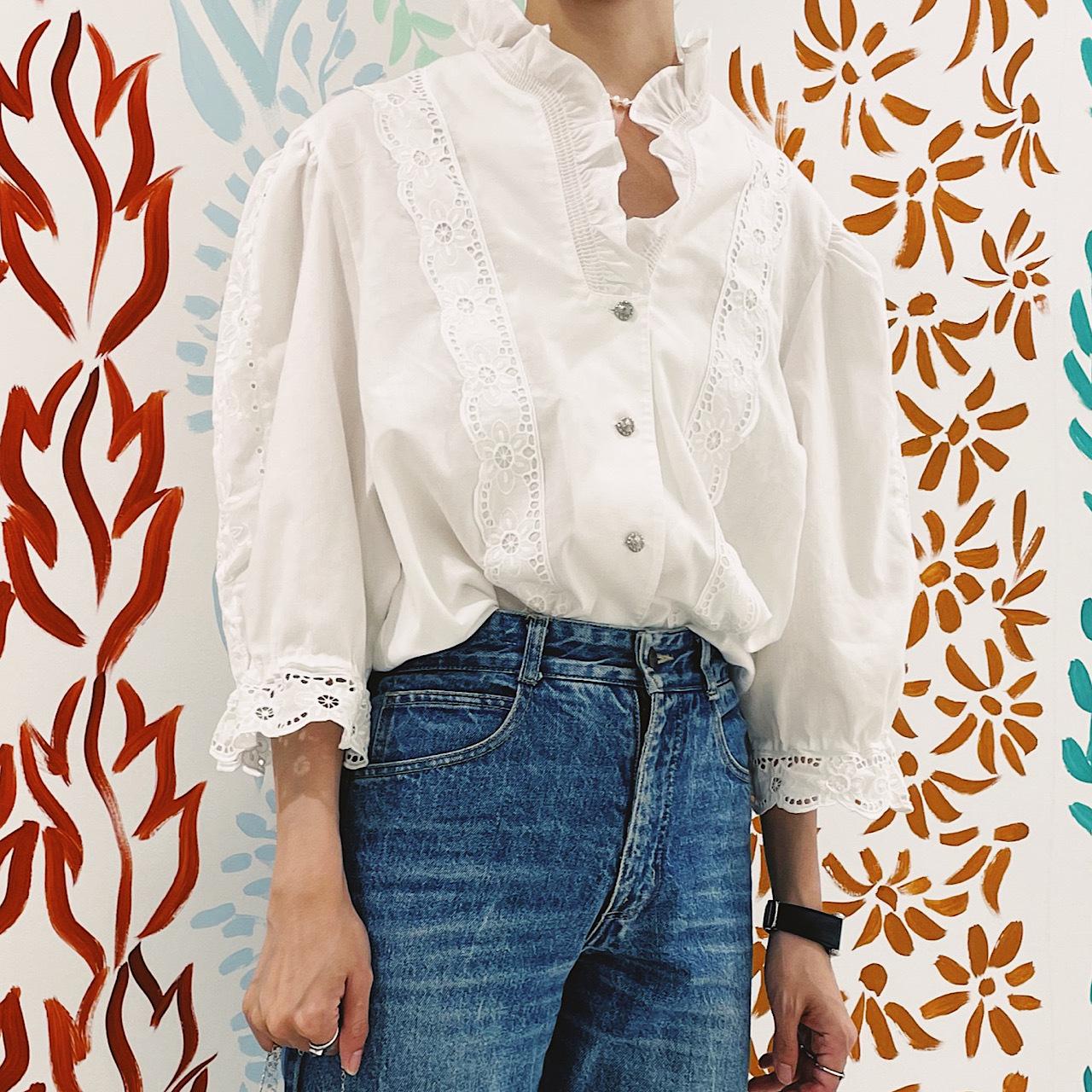 【送料無料】80's-90's vintage puff sleeve blouse(80年〜90年代 アンティーク 古着 レース パフスリーブ ブラウス)