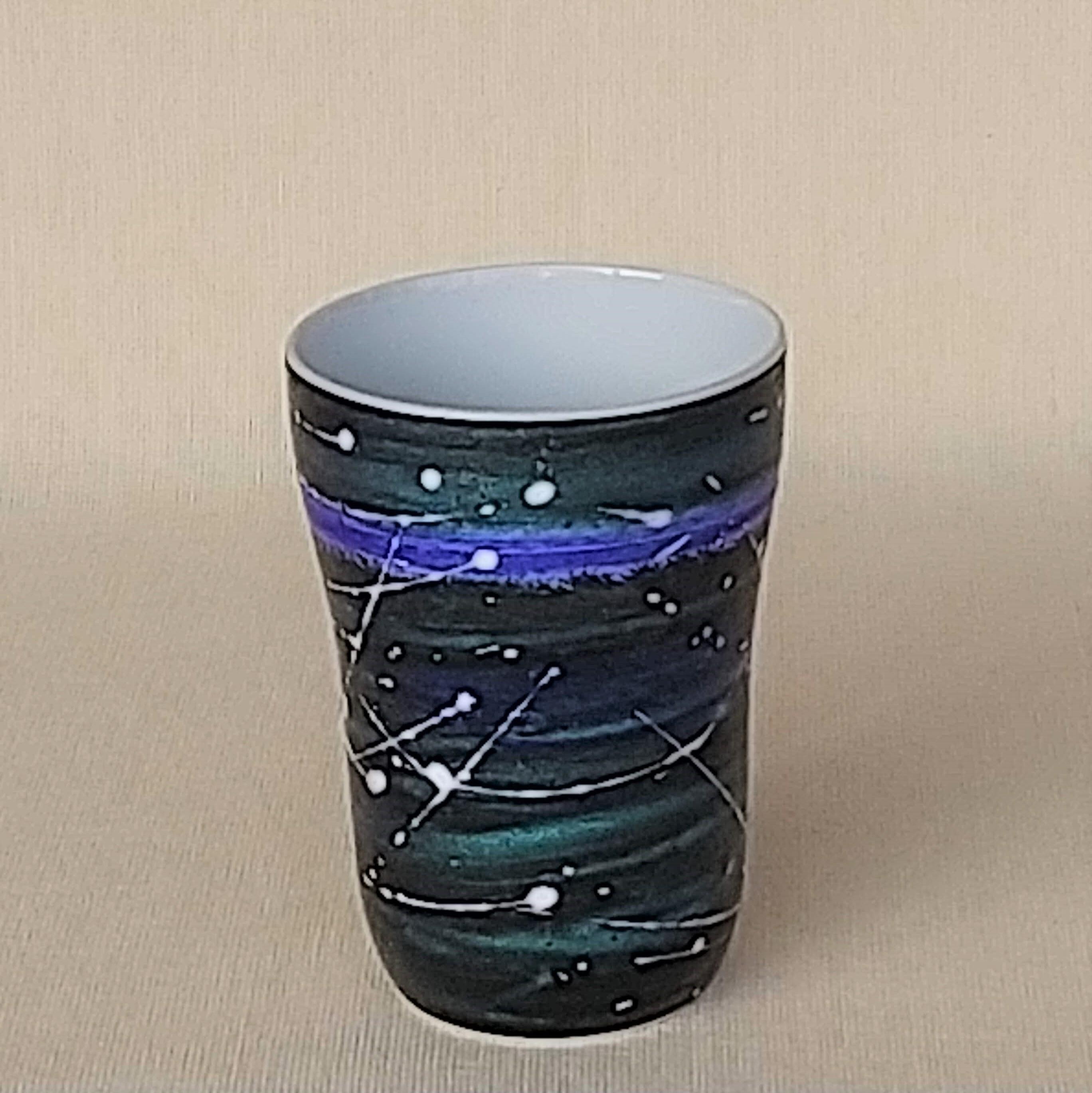 秀島窯作 光彩釉 銀河 フリーカップ 内白 (ブルー)